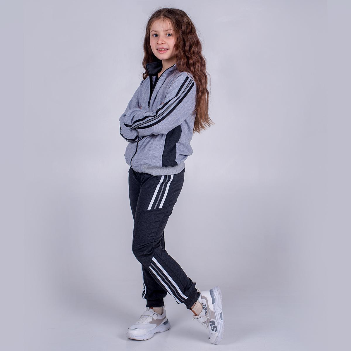 Костюм спортивный для девочки SmileTime Just Stripes, серый