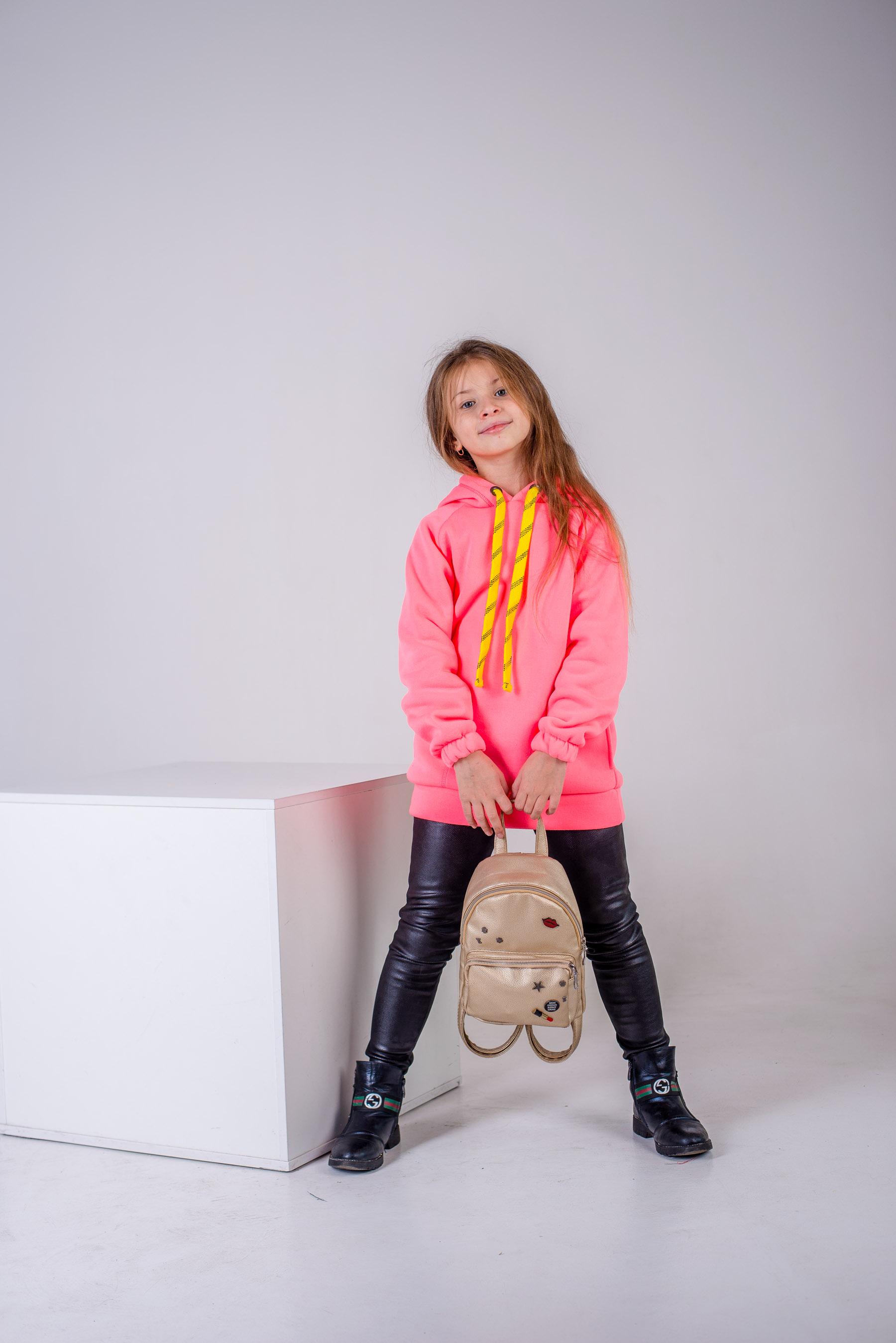 Худи для девочки SmileTime утепленное Juicy, розовый неон
