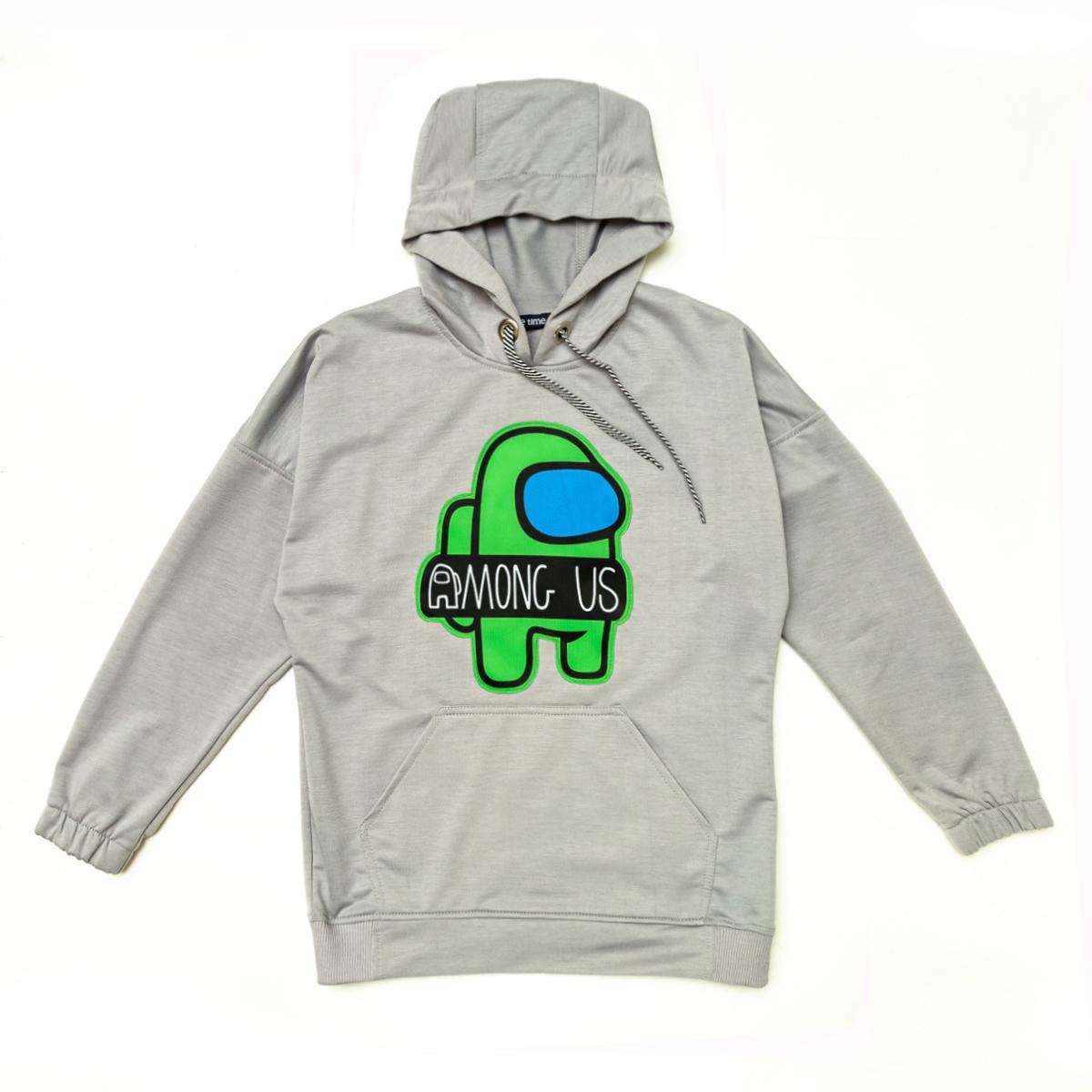 Худи SmileTime молодежное Gamer, серое с зеленым