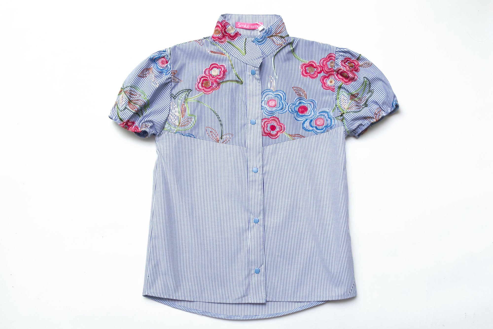 Рубашка SmileTime для девочки с коротким рукавом Flower с вышивкой, синяя