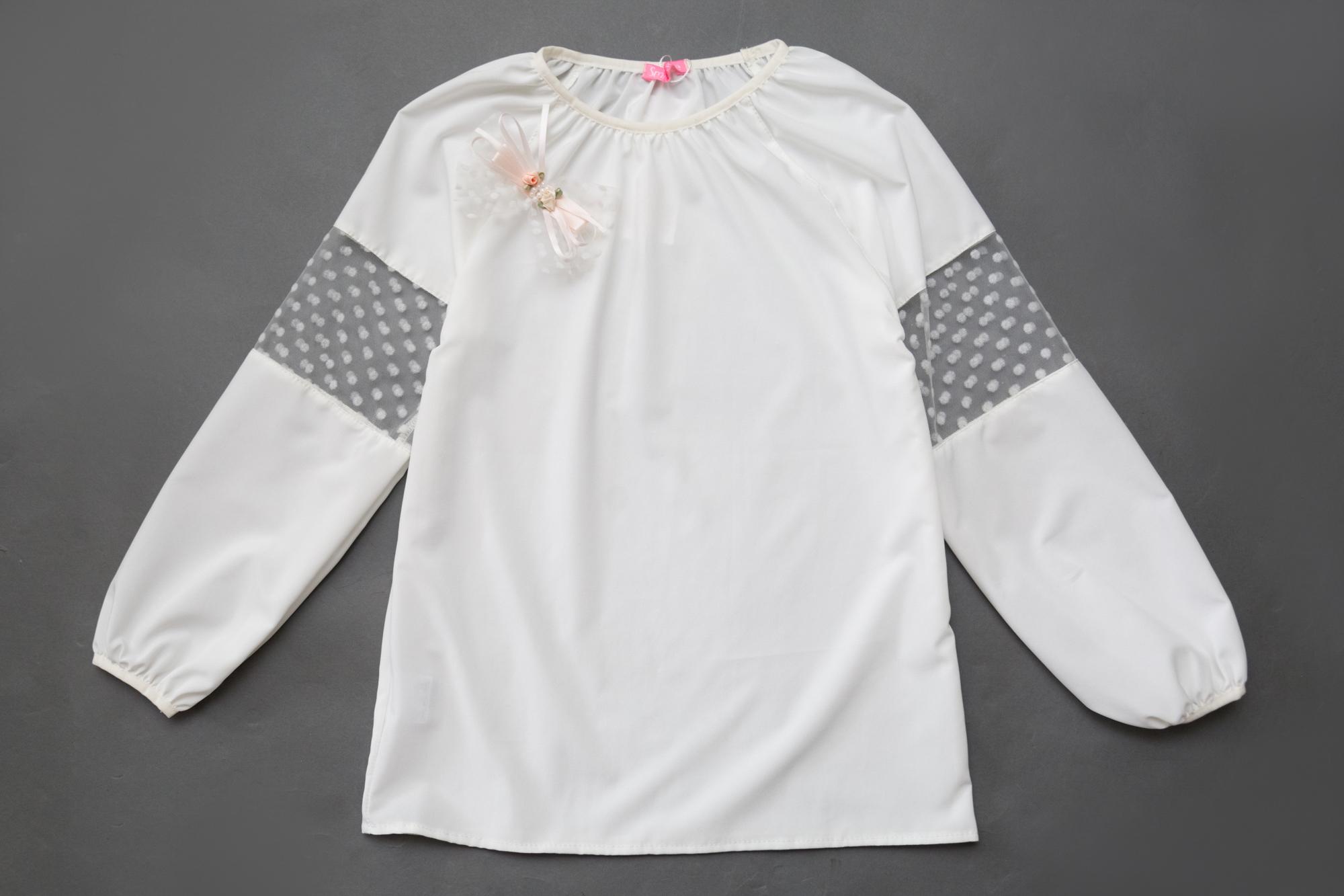 Блузка SmileTime для девочки с длинным рукавом Rose, молочная