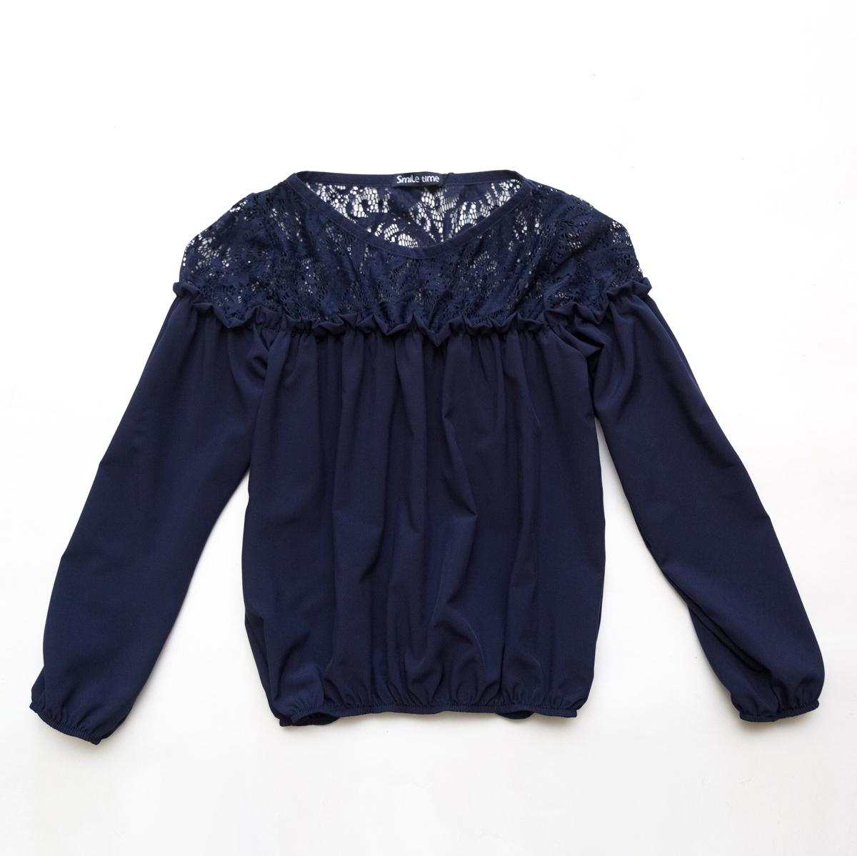 Блузка для девочки с длинным рукавом SmileTime Susie с гипюром, синяя