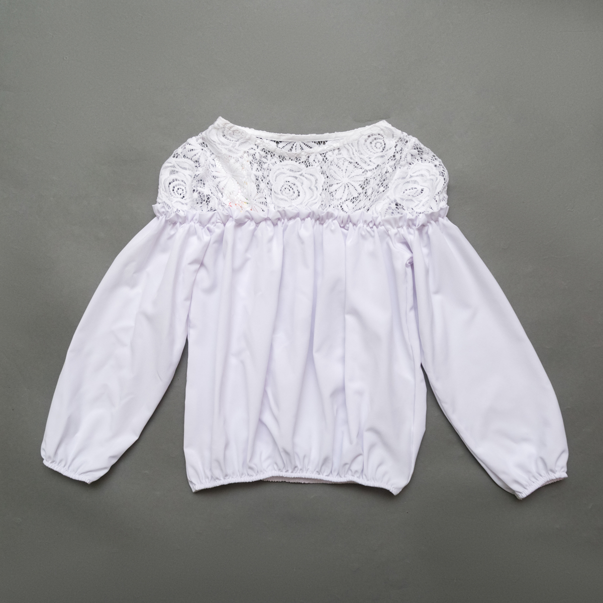 Блузка SmileTime длинный рукав Susie с гипюром, белый