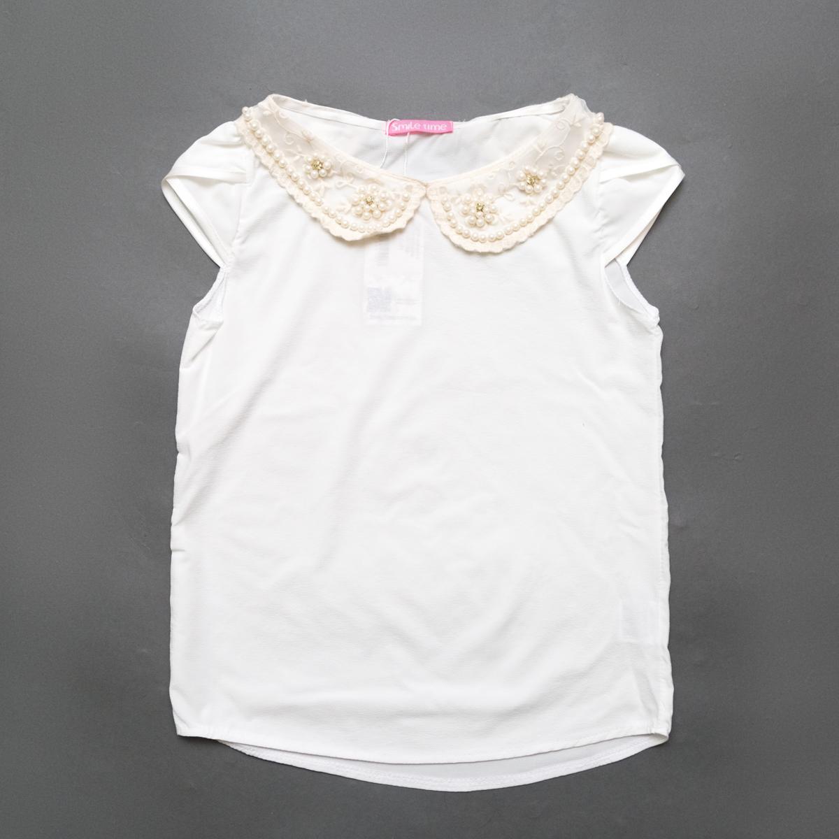 Блузка SmileTime короткий рукав Claire с воротником, молочный