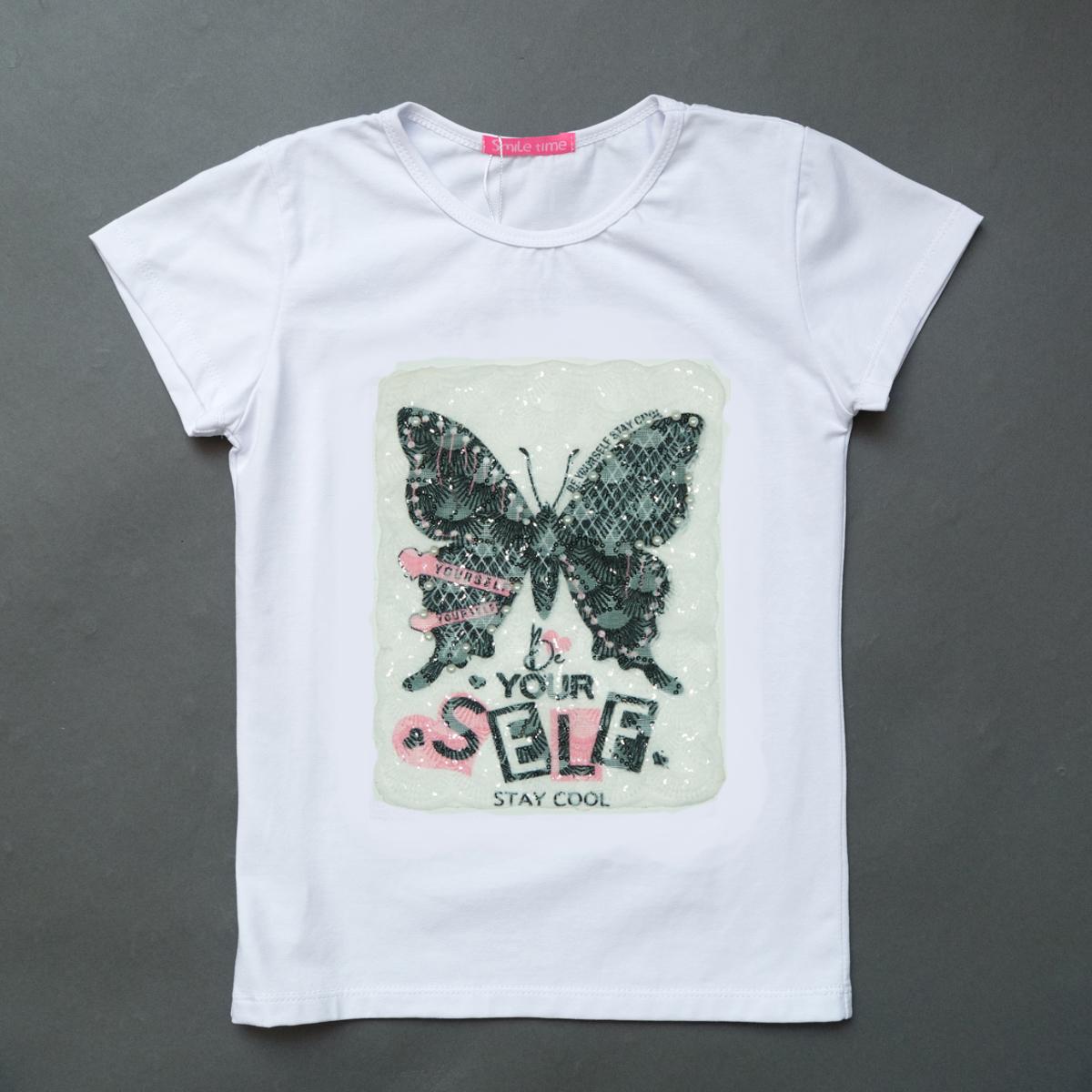 Футболка детская для девочки SmileTime Shining Butterfly, белая