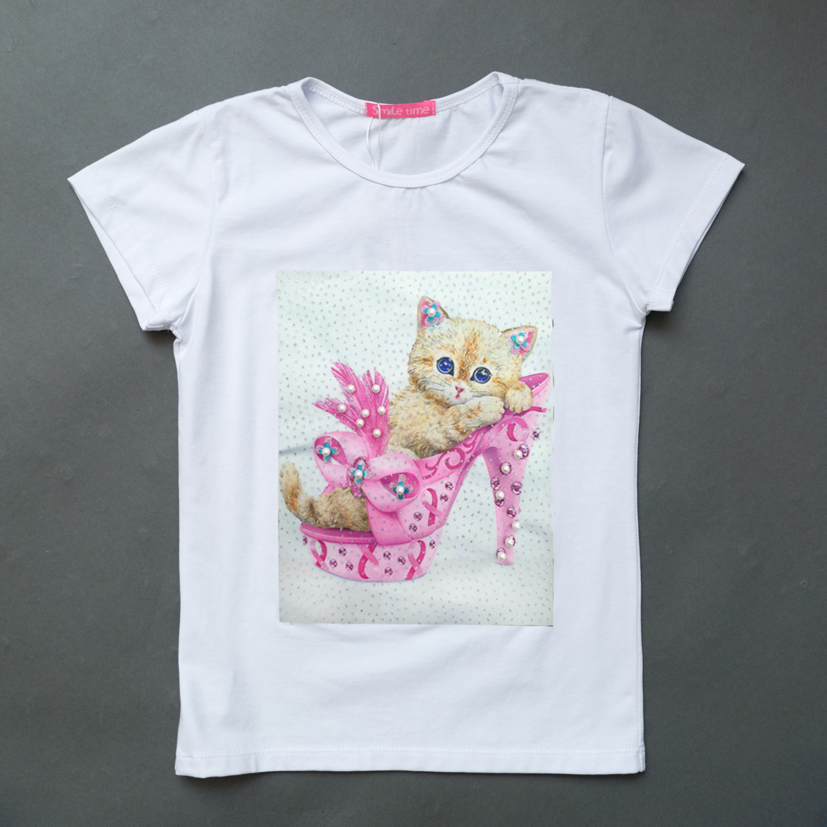 Футболка SmileTime для девочки Kitten, белый