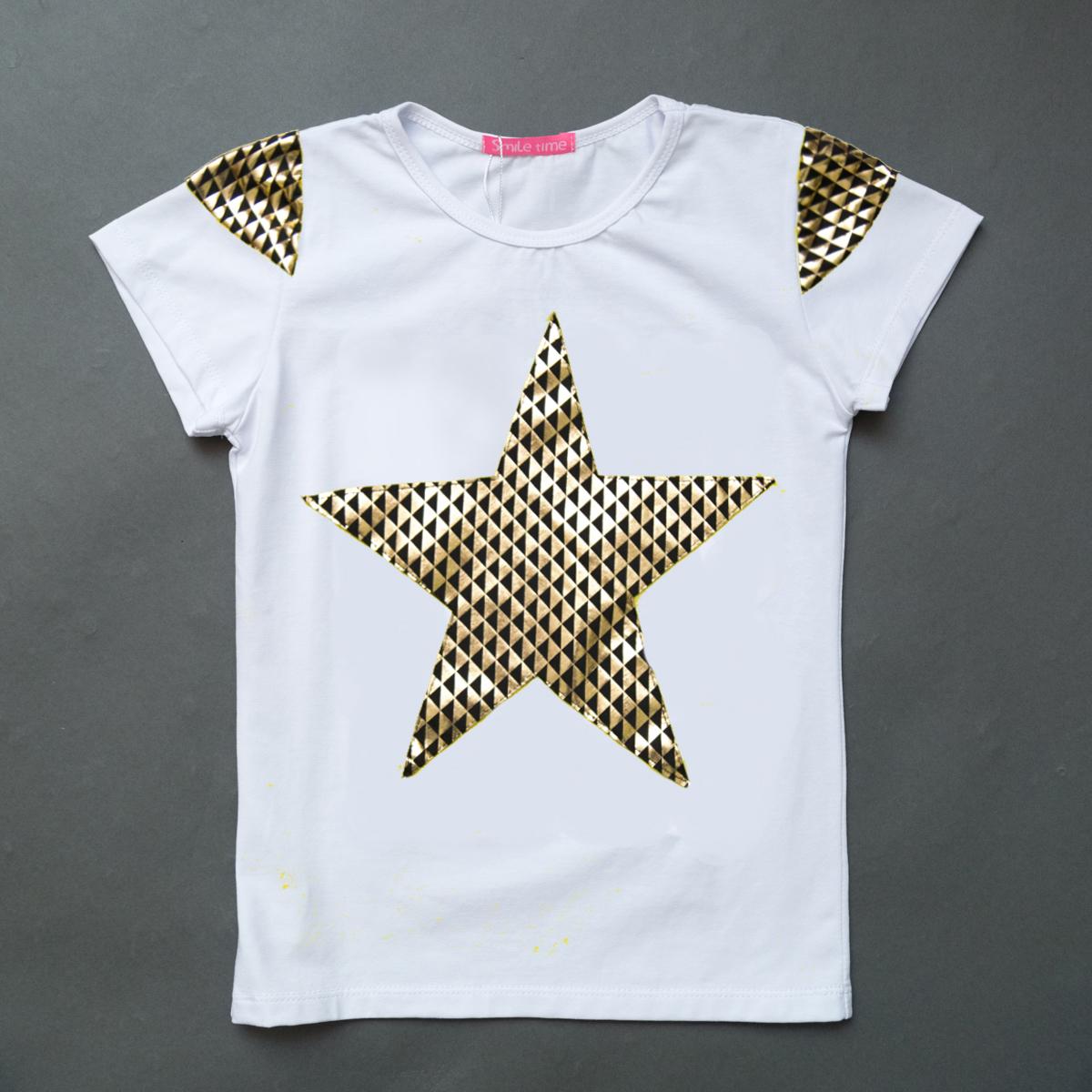 Футболка для дівчинки, Shining star, біла, SmileTime