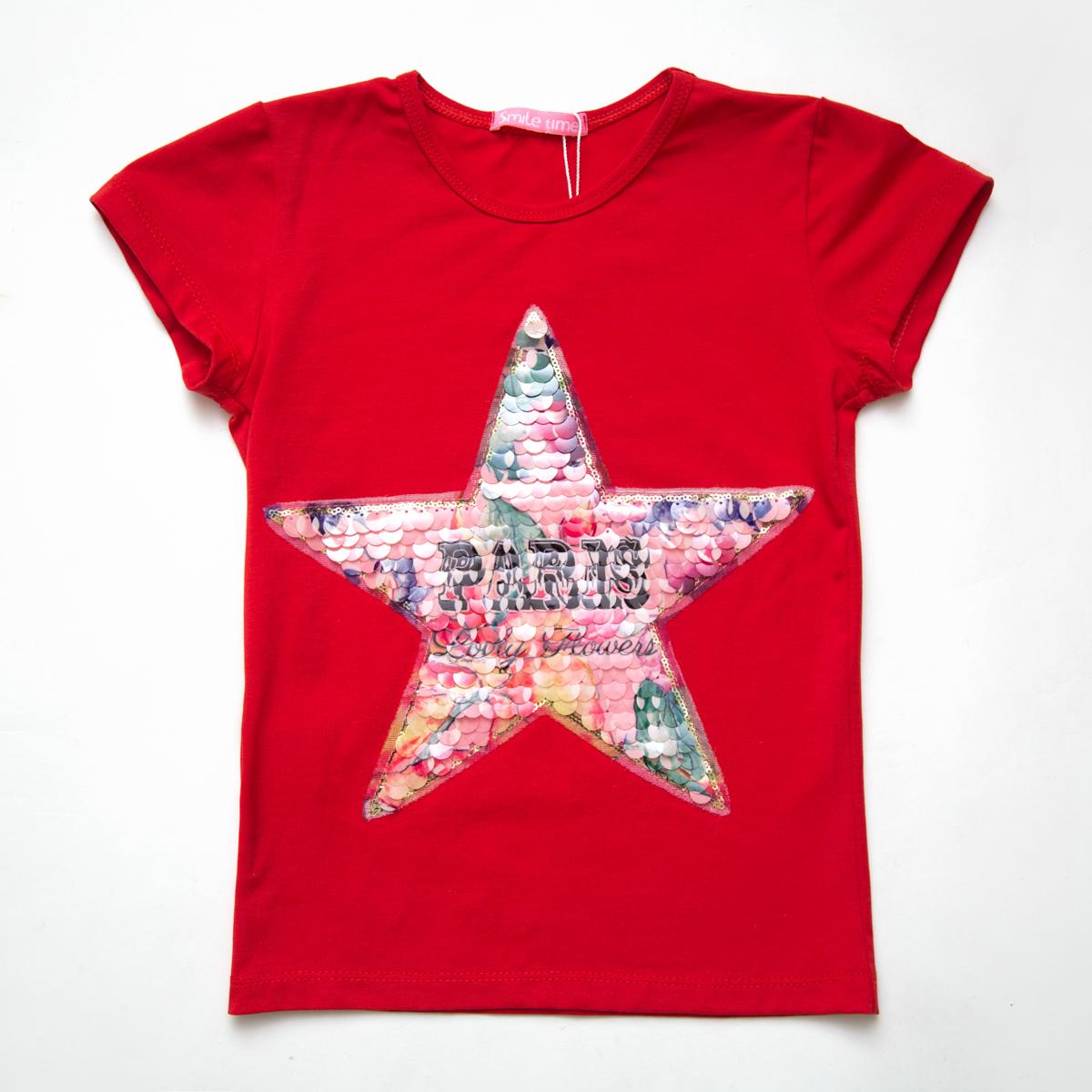 Футболка SmileTime для девочки Flower star, красный