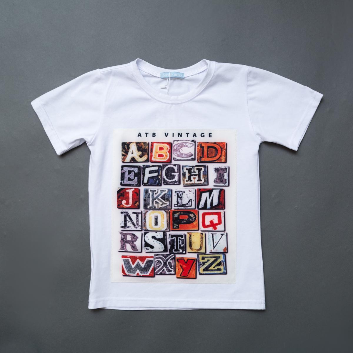 Футболка SmileTime для мальчика Alphabet Vintage, белый