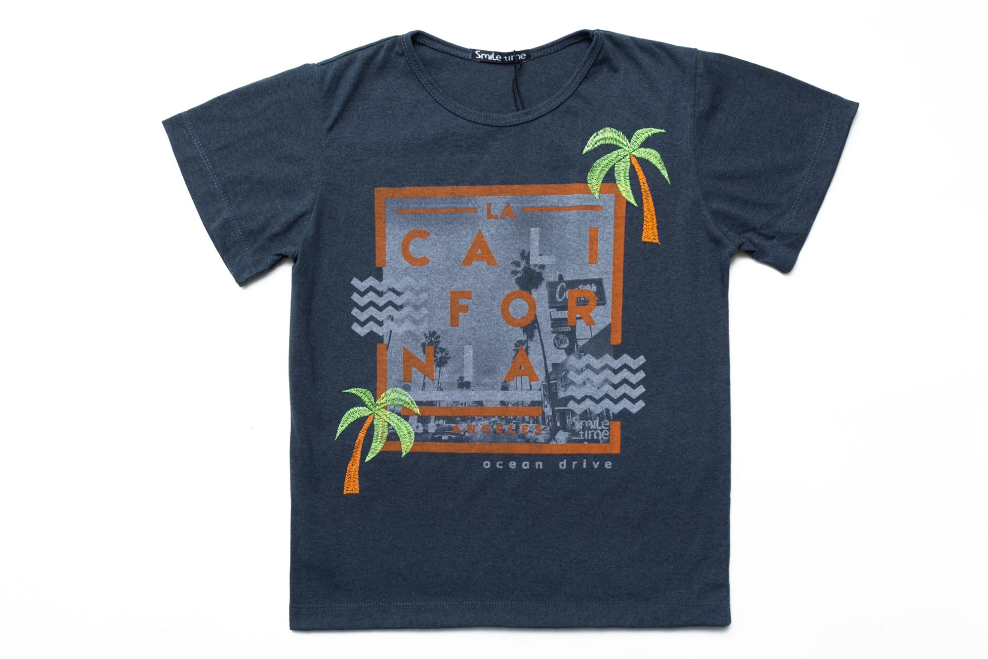 Футболка SmileTime для мальчика California Ocean Drive, темный индиго