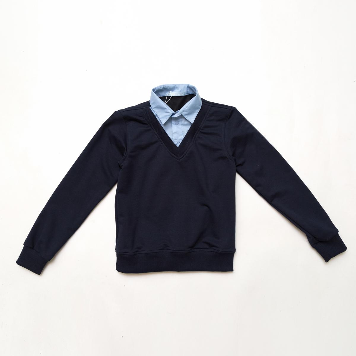 Кофта-обманка SmileTime для мальчика Scholar, темно-синий с голубым