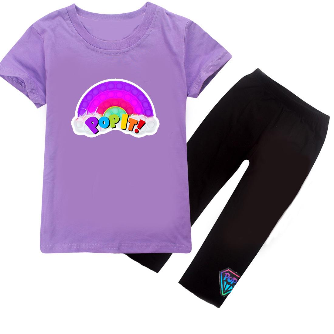 Комплект летний, для девочки, футболка и капри, SmileTime AntistreSS, лиловый