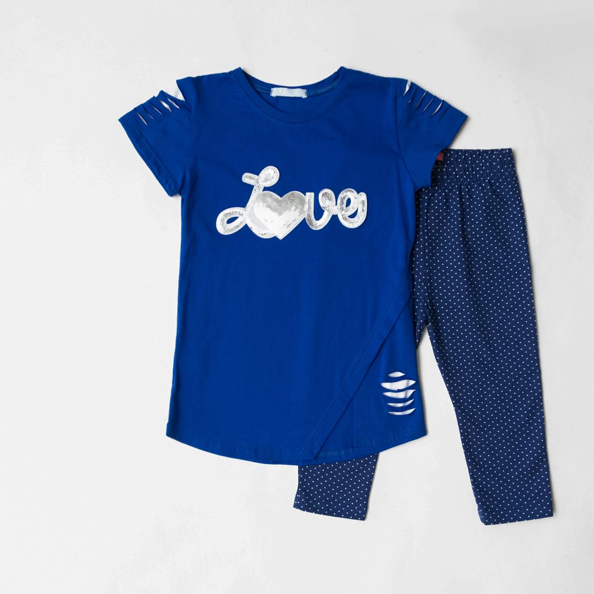 Комплект SmileTime футболка и капри для девочки Lovely, синий с белым