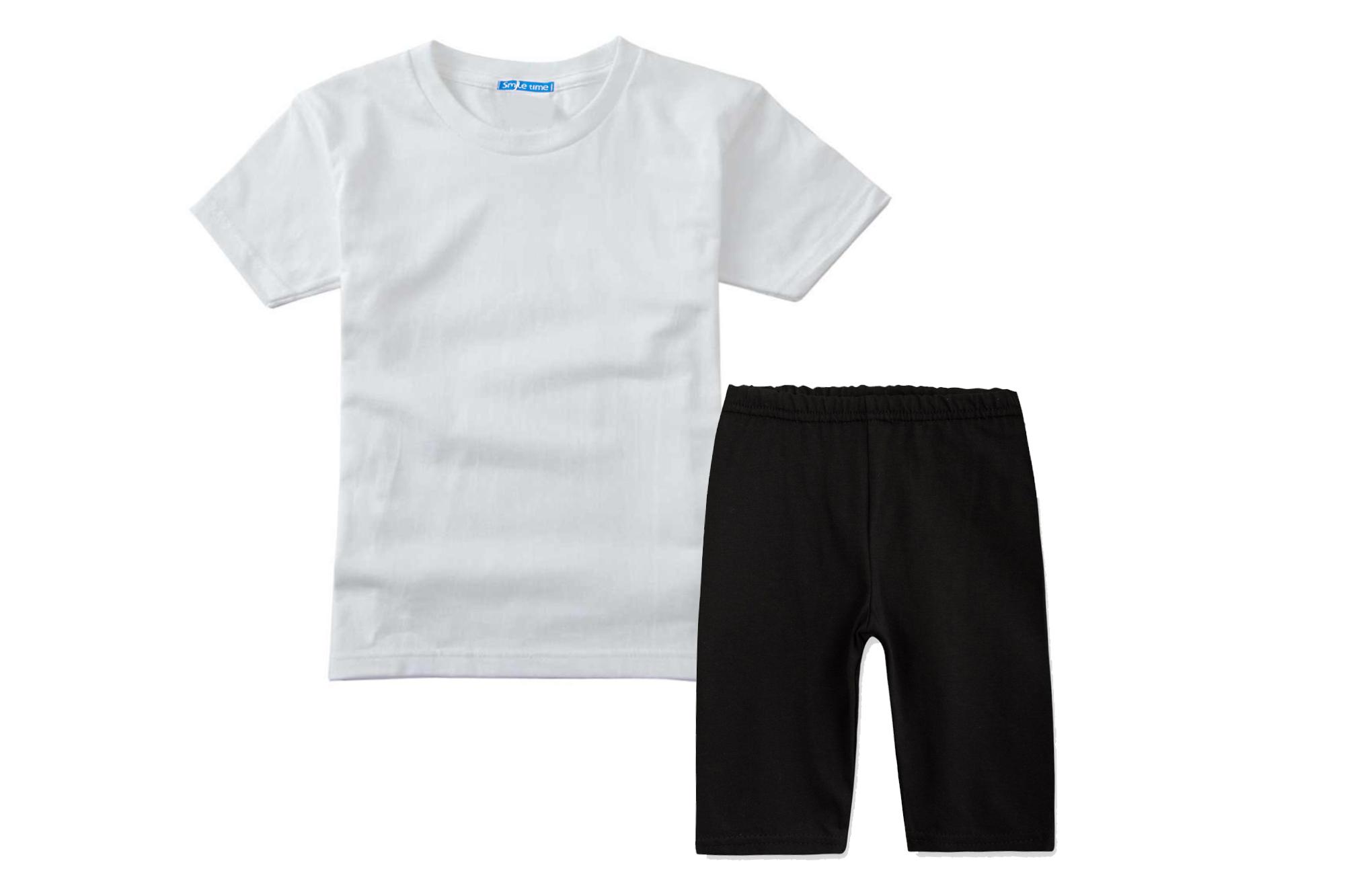 Костюм спортивный SmileTime футболка и капри Basic Sport, белый с черным