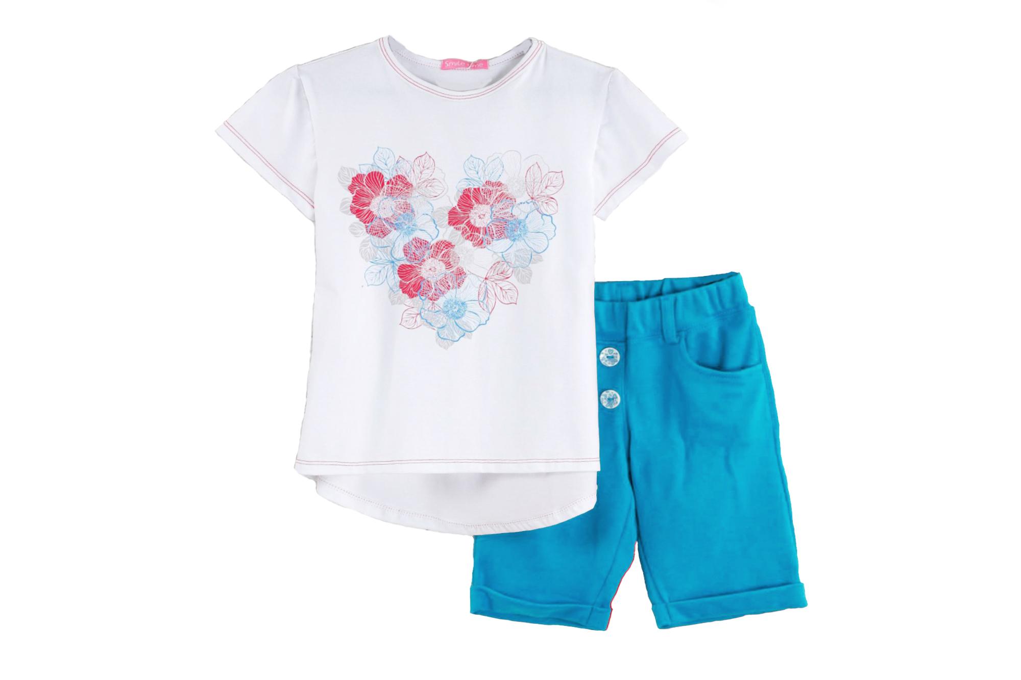 Костюм SmileTime для девочки Flower Heart шорты и футболка, бирюзовый