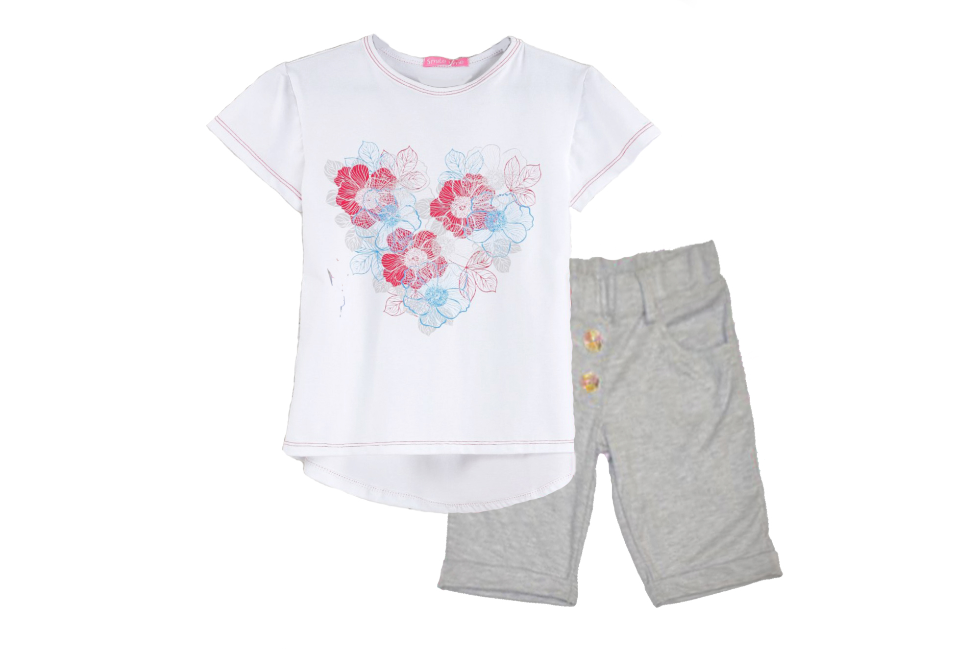 Костюм SmileTime для девочки Flower Heart шорты и футболка, меланж