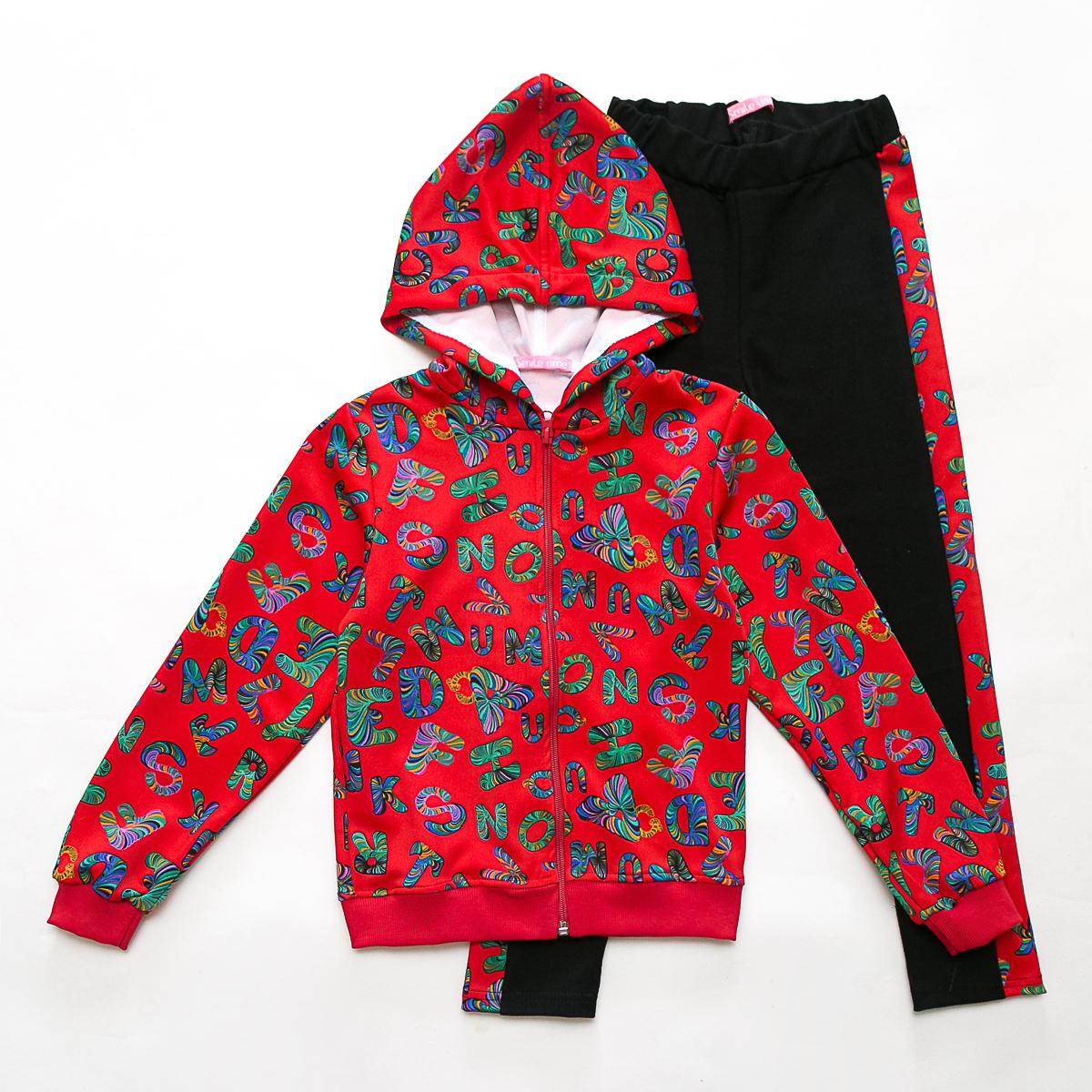 Костюм спортивный детский для девочки, Cool Letters, красный с черным, SmileTime