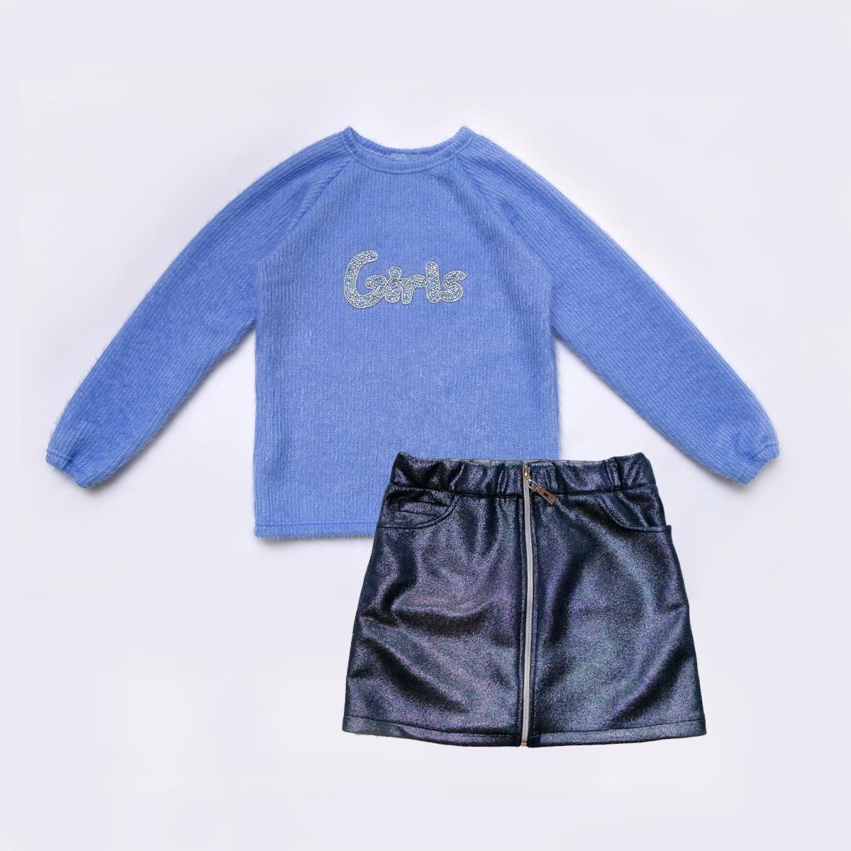 Комплект для девочки, свитер и юбка, Holiday, синий, SmileTime