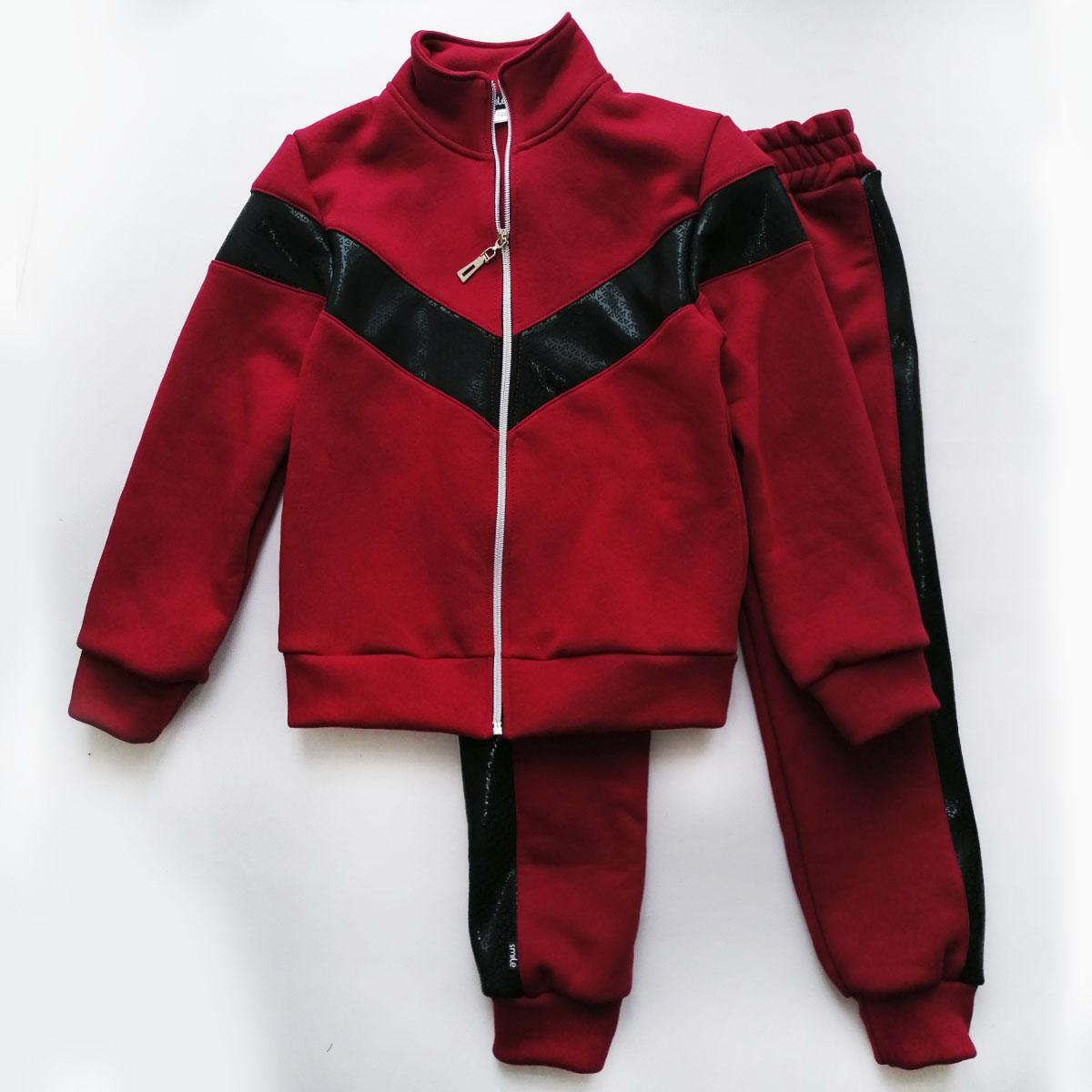 Теплый костюм для девочки, с начесом, бордовый, Cosy SmileTime