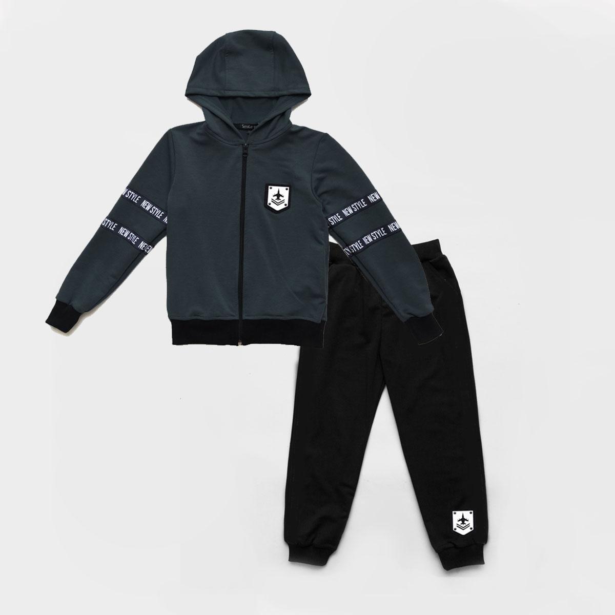 Костюм спортивний SmileTime дитячий New Style, сірий з чорним