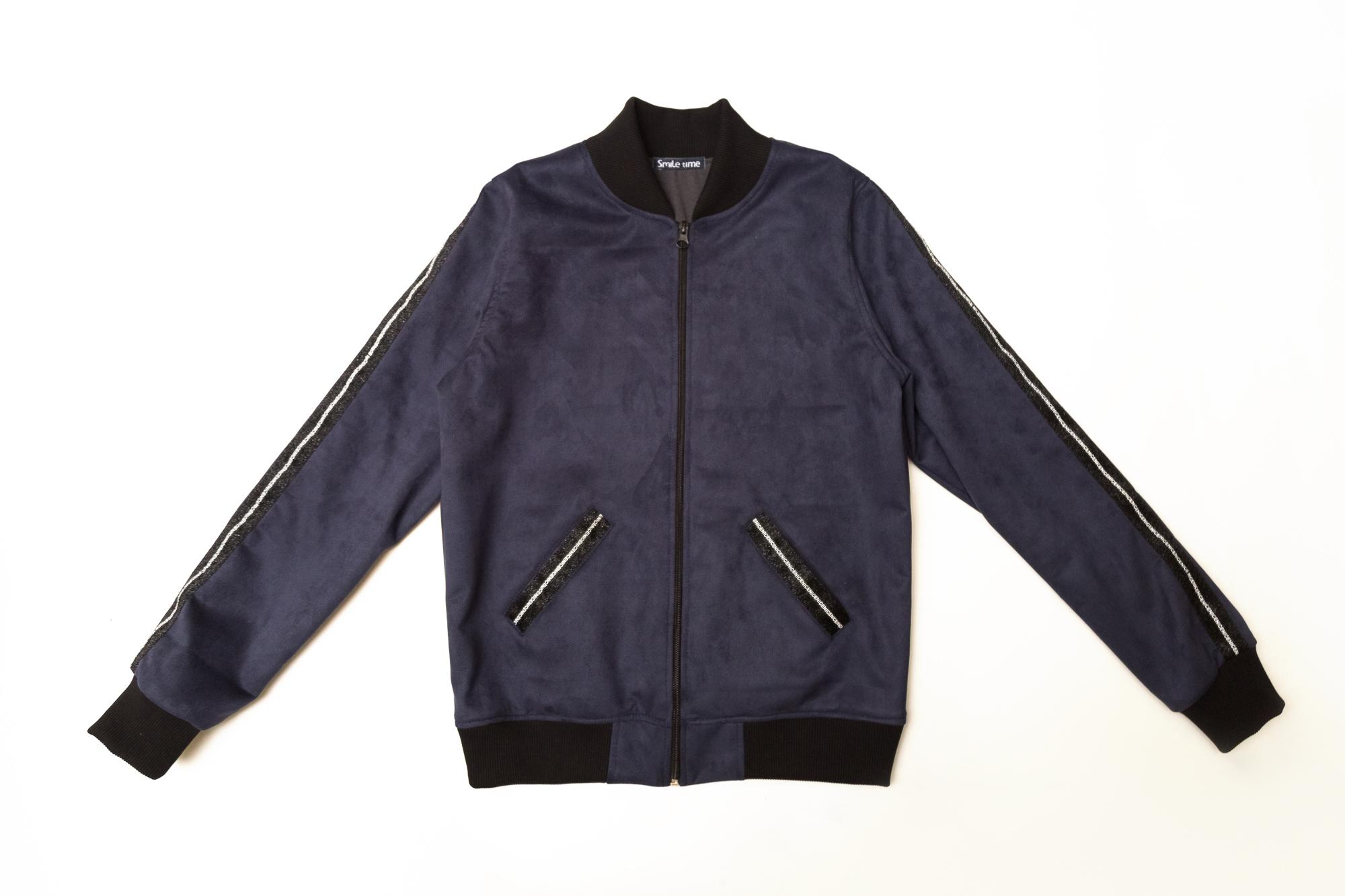 Куртка бомбер для дівчинки, замшева на підкладки, синя, SmileTime New Look