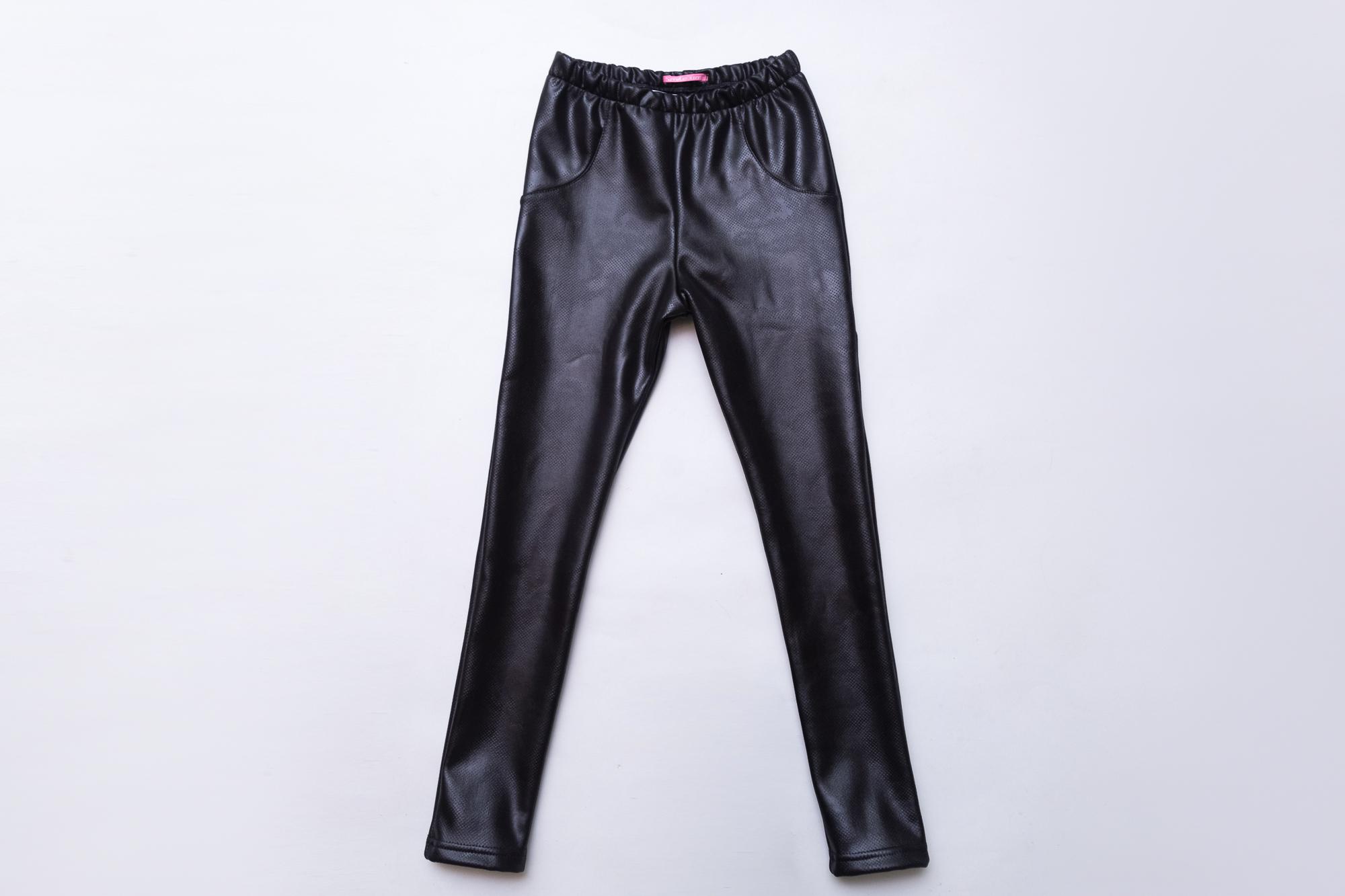 Лосины SmileTime для девочки на меху Leather perforation, черные