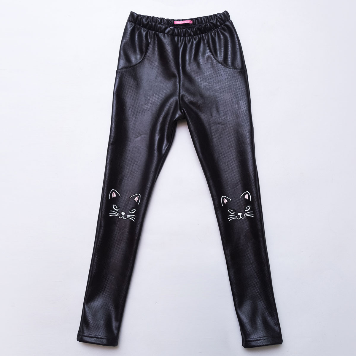 Лосины детские SmileTime кожаные на меху Leather Kitten, черные