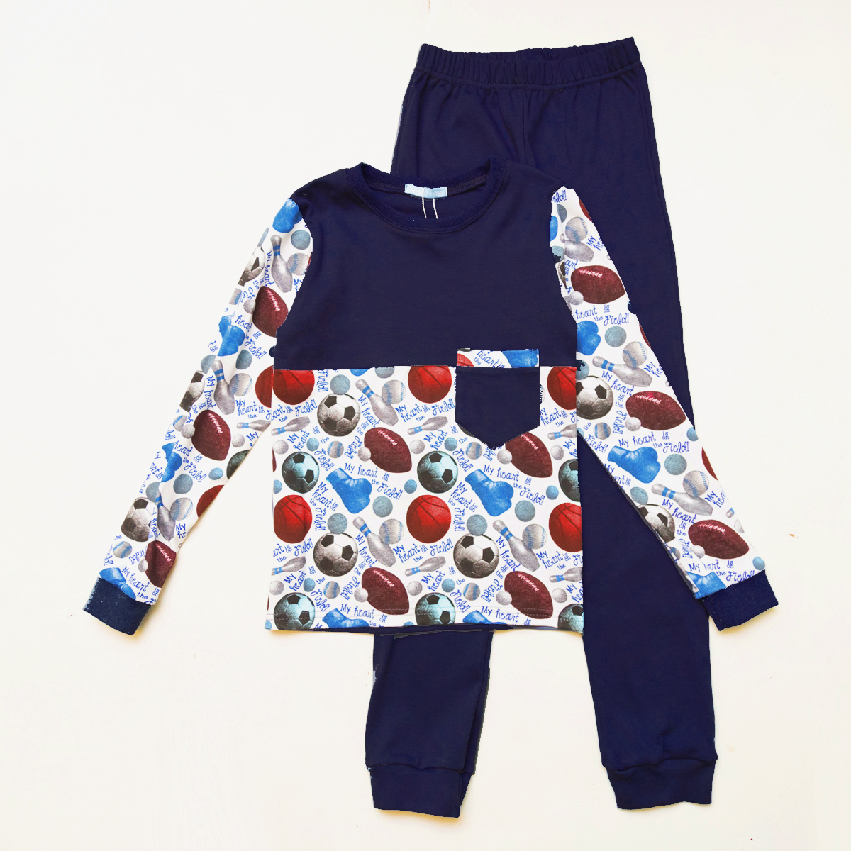 Піжама дитяча для хлопчика SmileTime Sport Time, темно-синя
