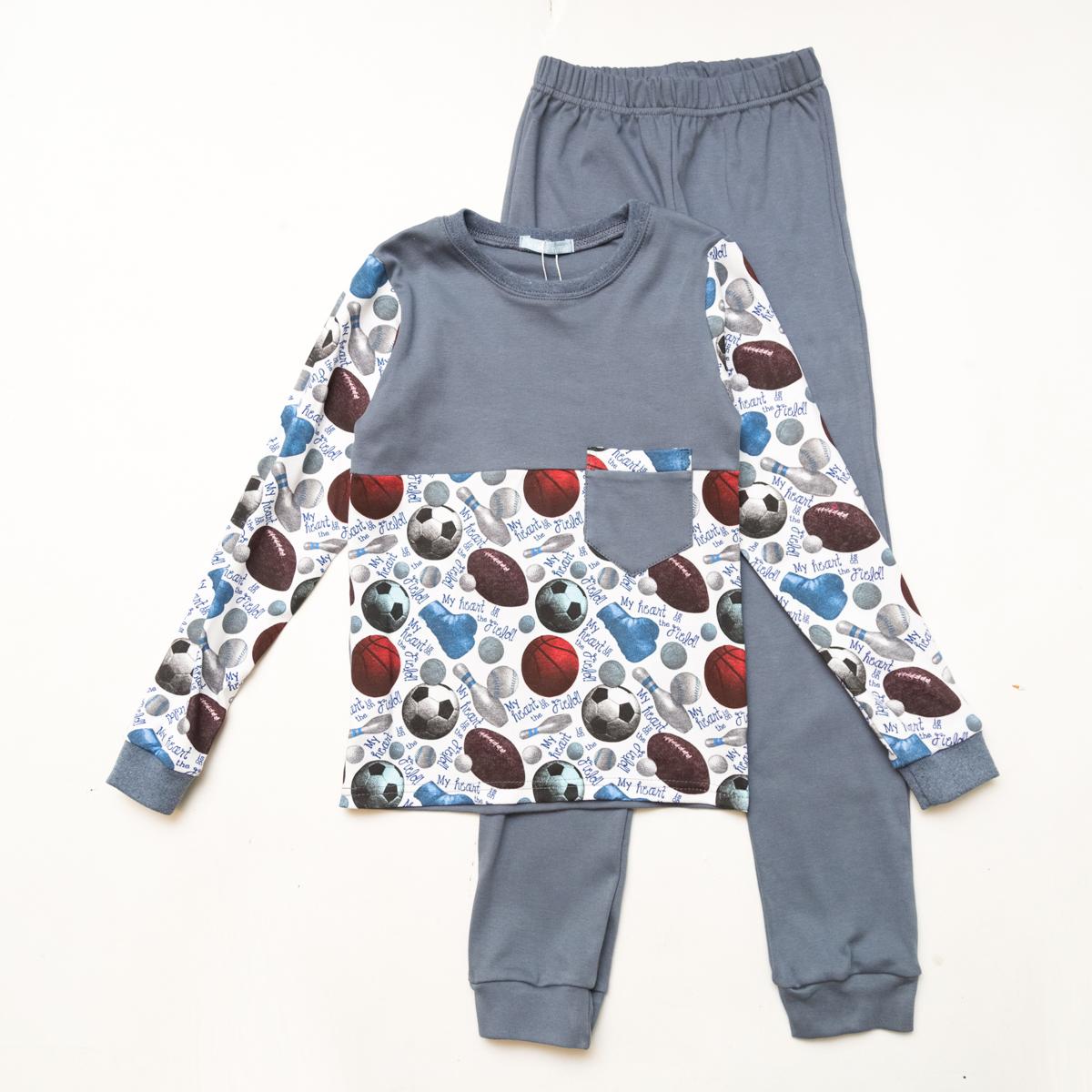 Пижама SmileTime для мальчика Sport Time, серый