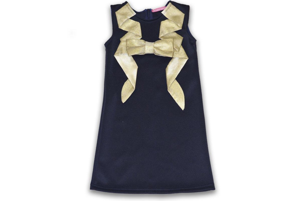Платье SmileTime нарядное Fiesta с золотым бантом, темно-синие