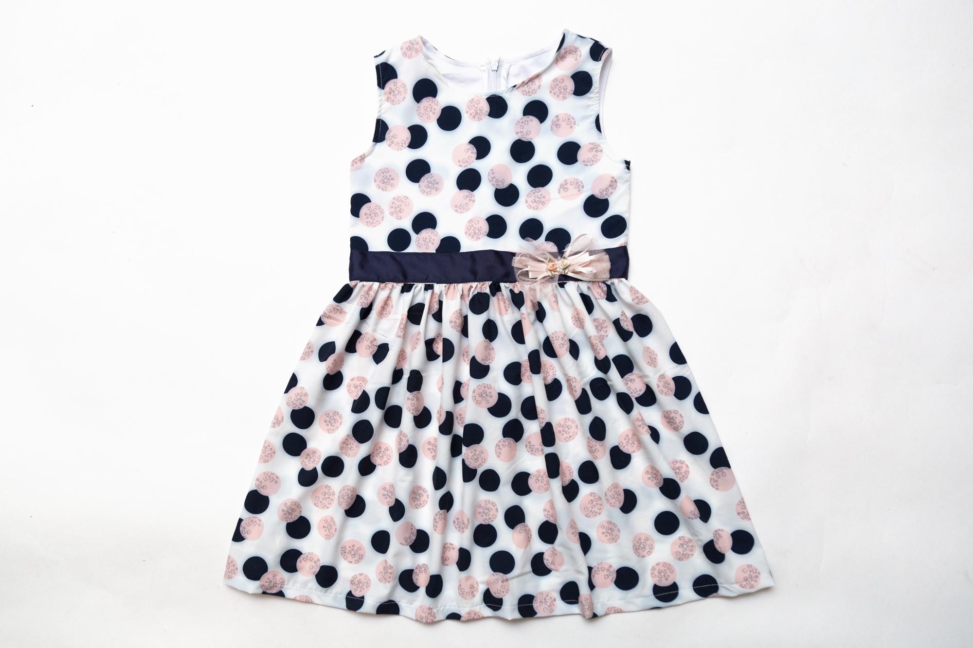 Платье SmileTime для девочки Connie, белое в горошек