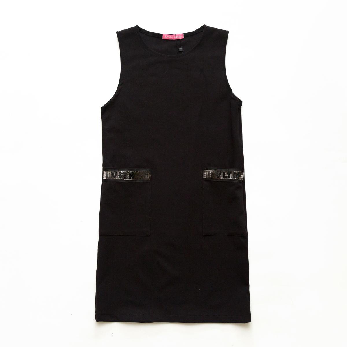 Сарафан SmileTime для девочки Valentino с карманами, черный