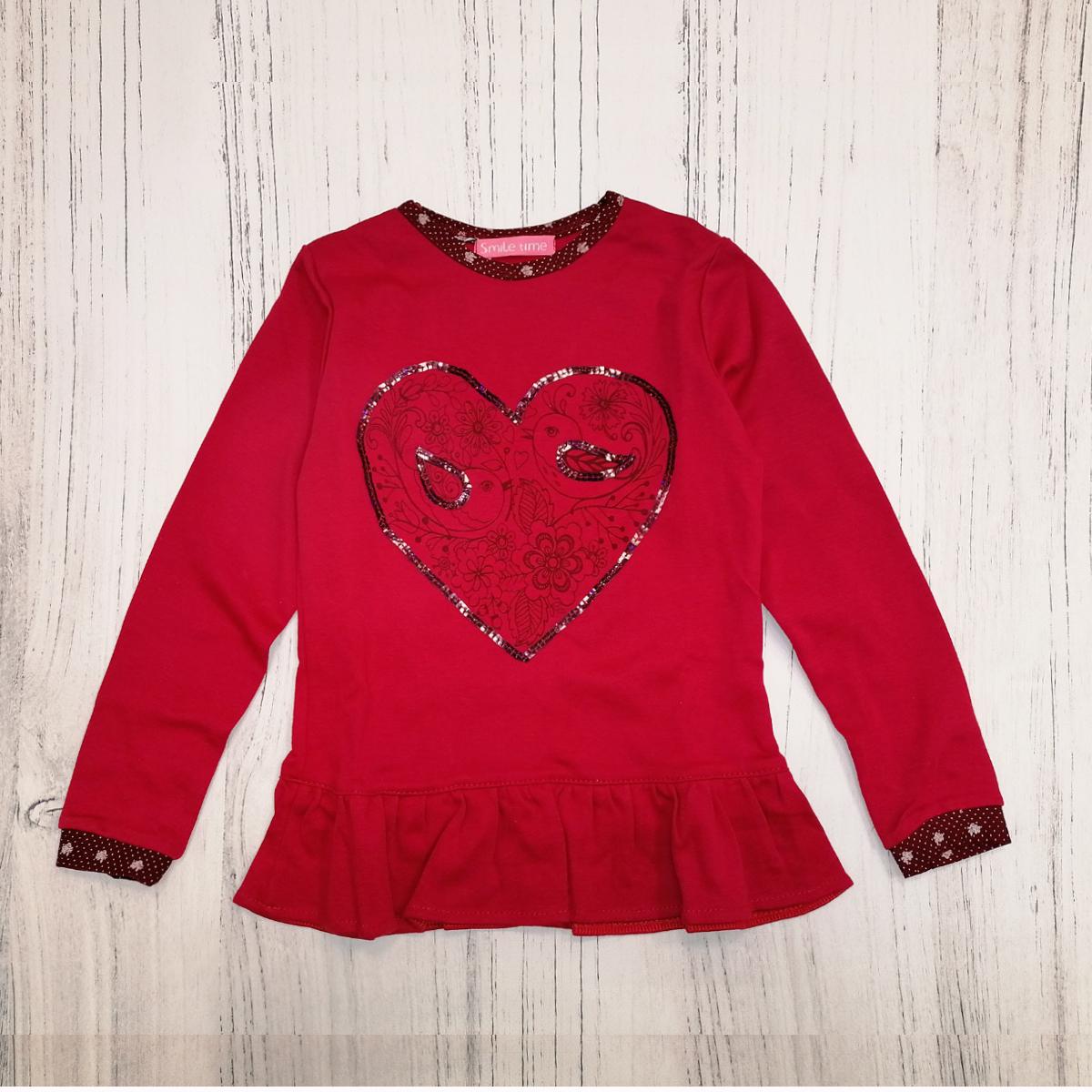 Реглан детский для девочки SmileTime LoveBird, красный