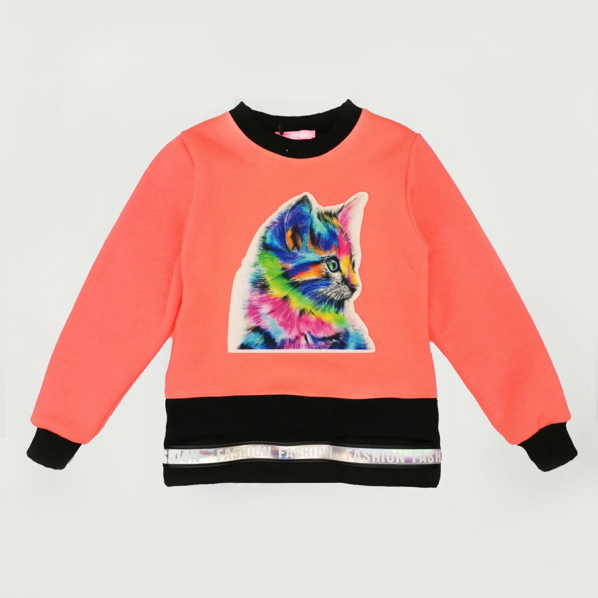 Свитшот детский SmileTime  утепленный Color Kitten, оранжевый неон