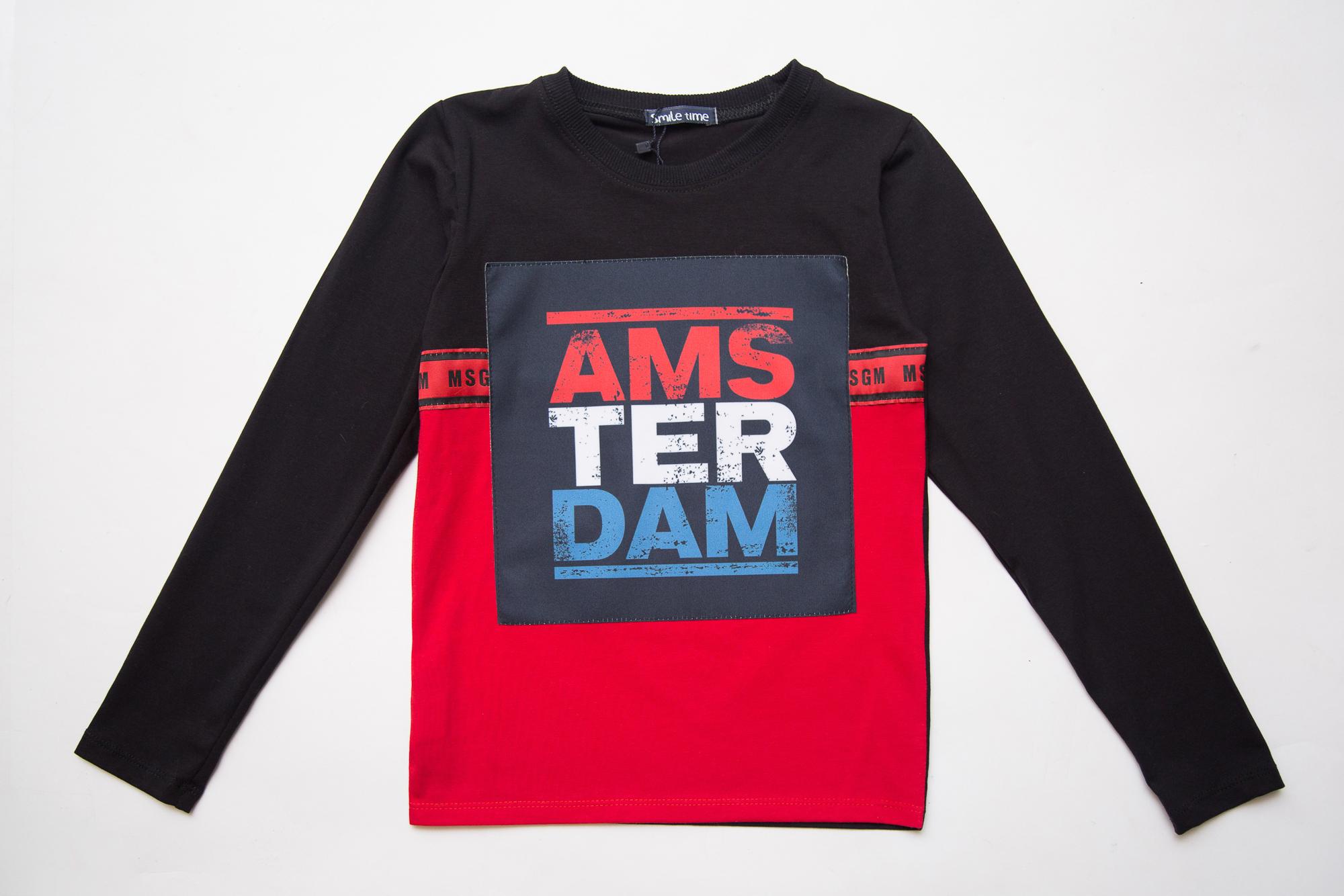Реглан SmileTime для мальчика Amsterdam, черный с красным
