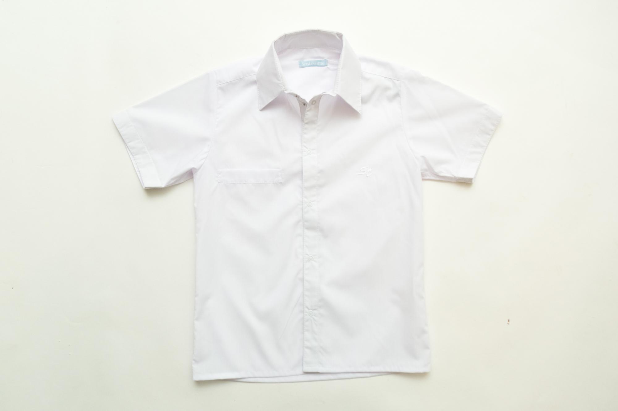 Рубашка SmileTime для мальчика с коротким рукавом на кнопках, белая