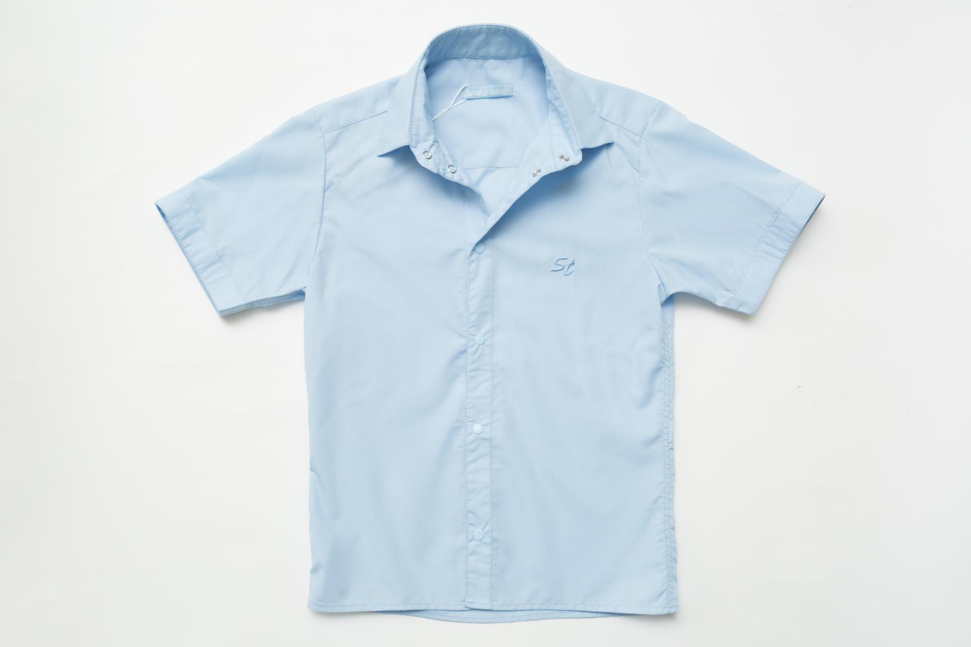 Рубашка SmileTime для мальчика с коротким рукавом на кнопках, голубая