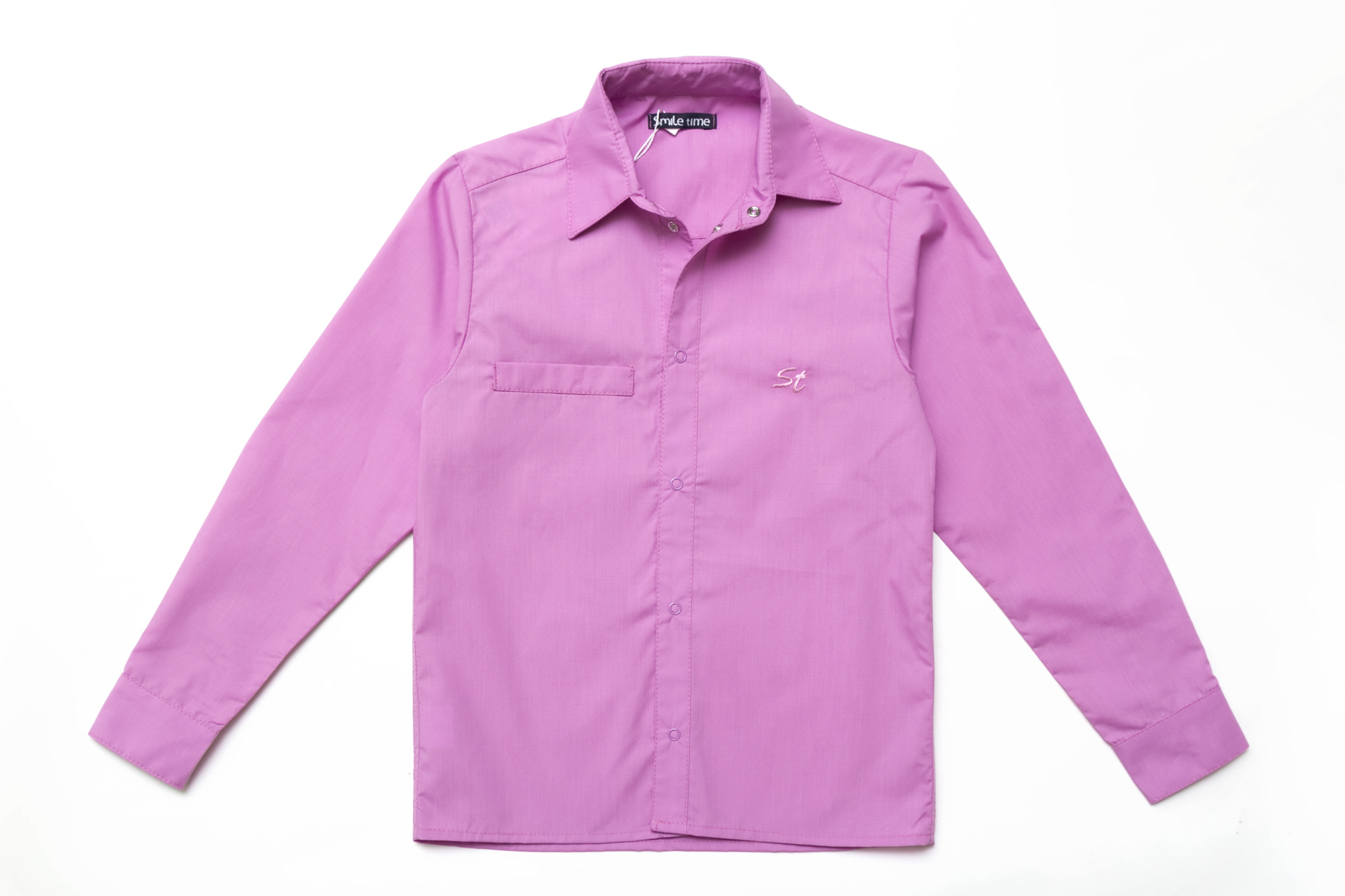 Рубашка SmileTime для мальчика с длинным рукавом на кнопках, лиловая