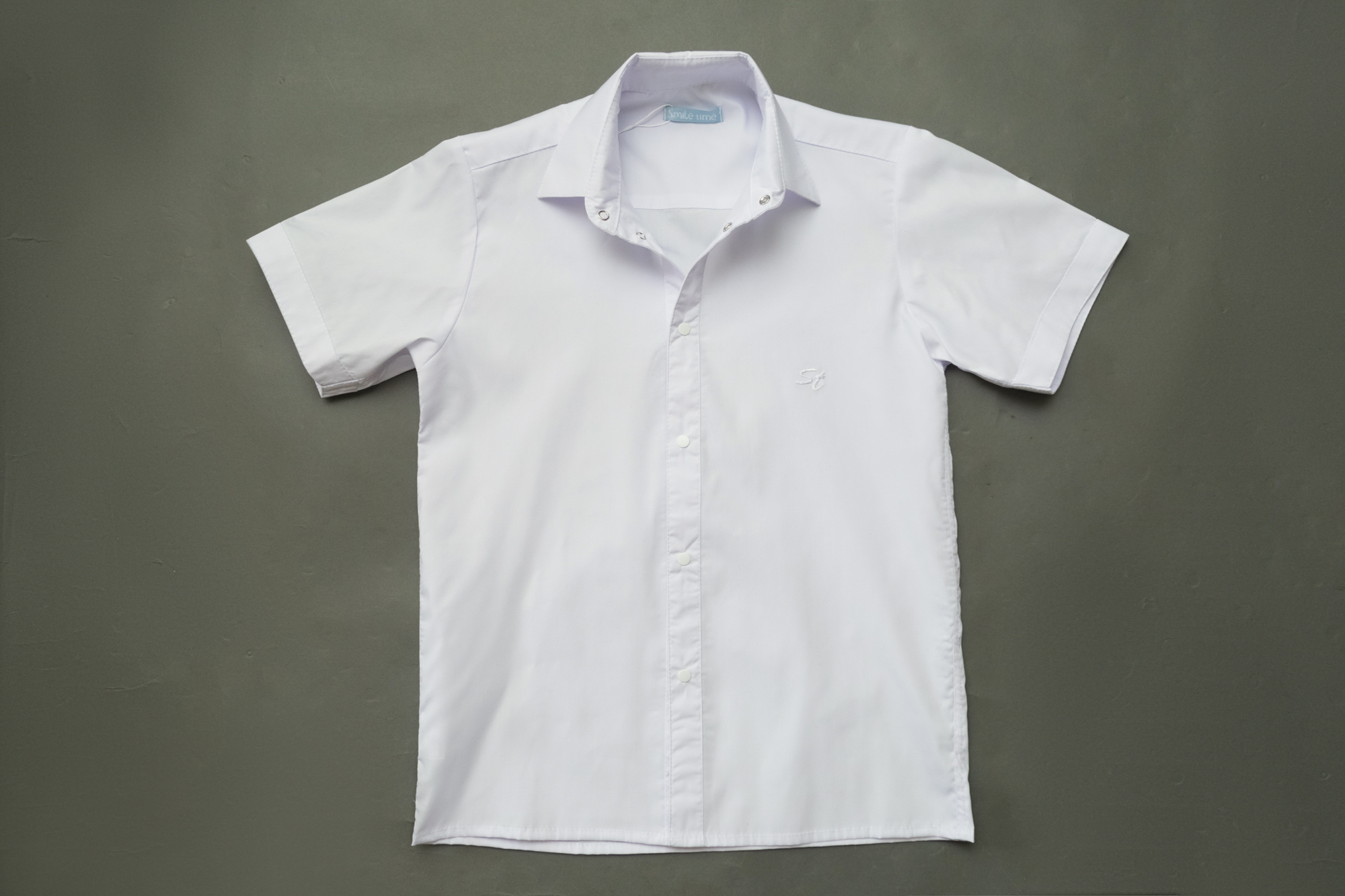 Рубашка для мальчика SmileTime с коротким рукавом Classic, белая