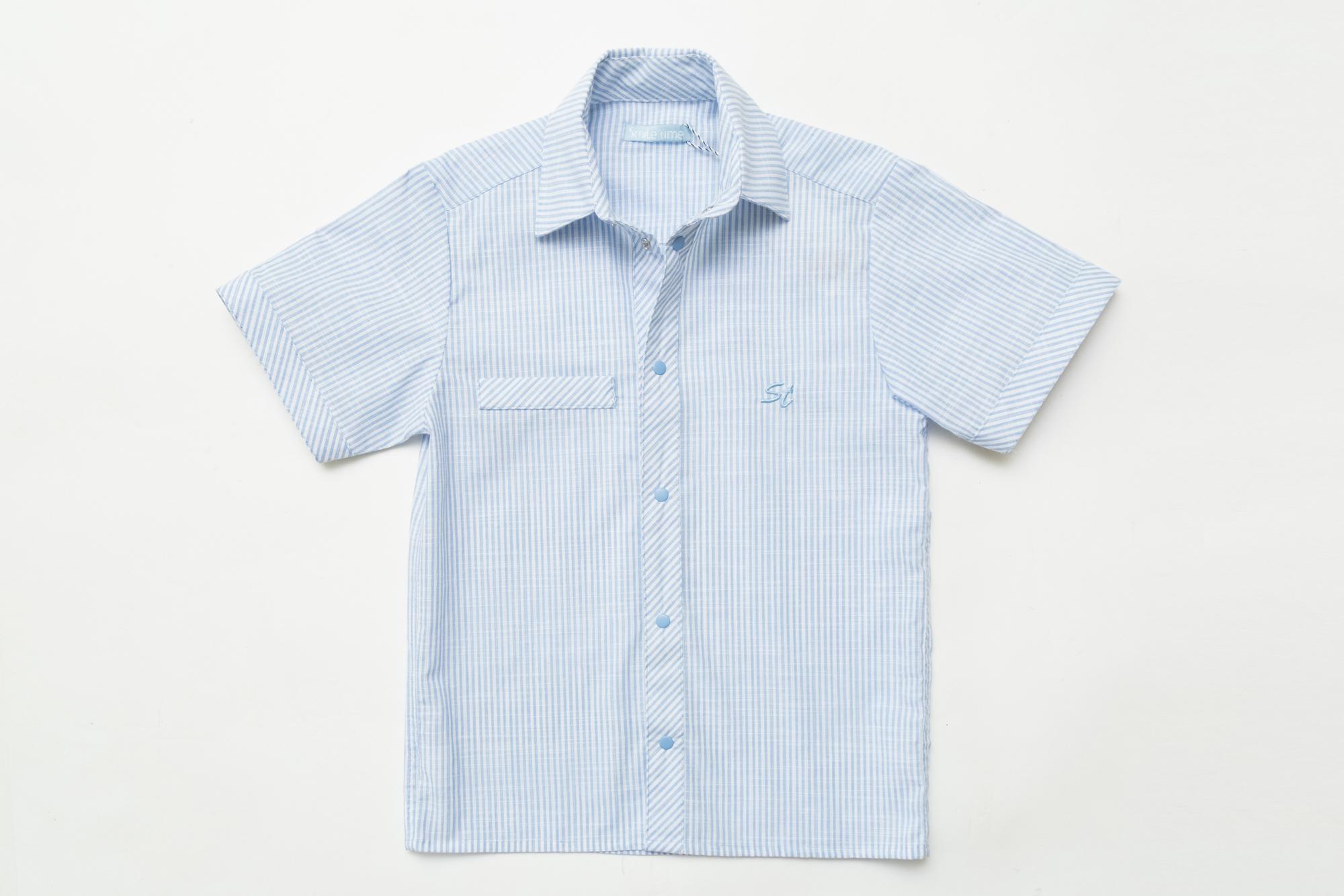 Рубашка SmileTime для мальчика с коротким рукавом на кнопках Полоса, голубая