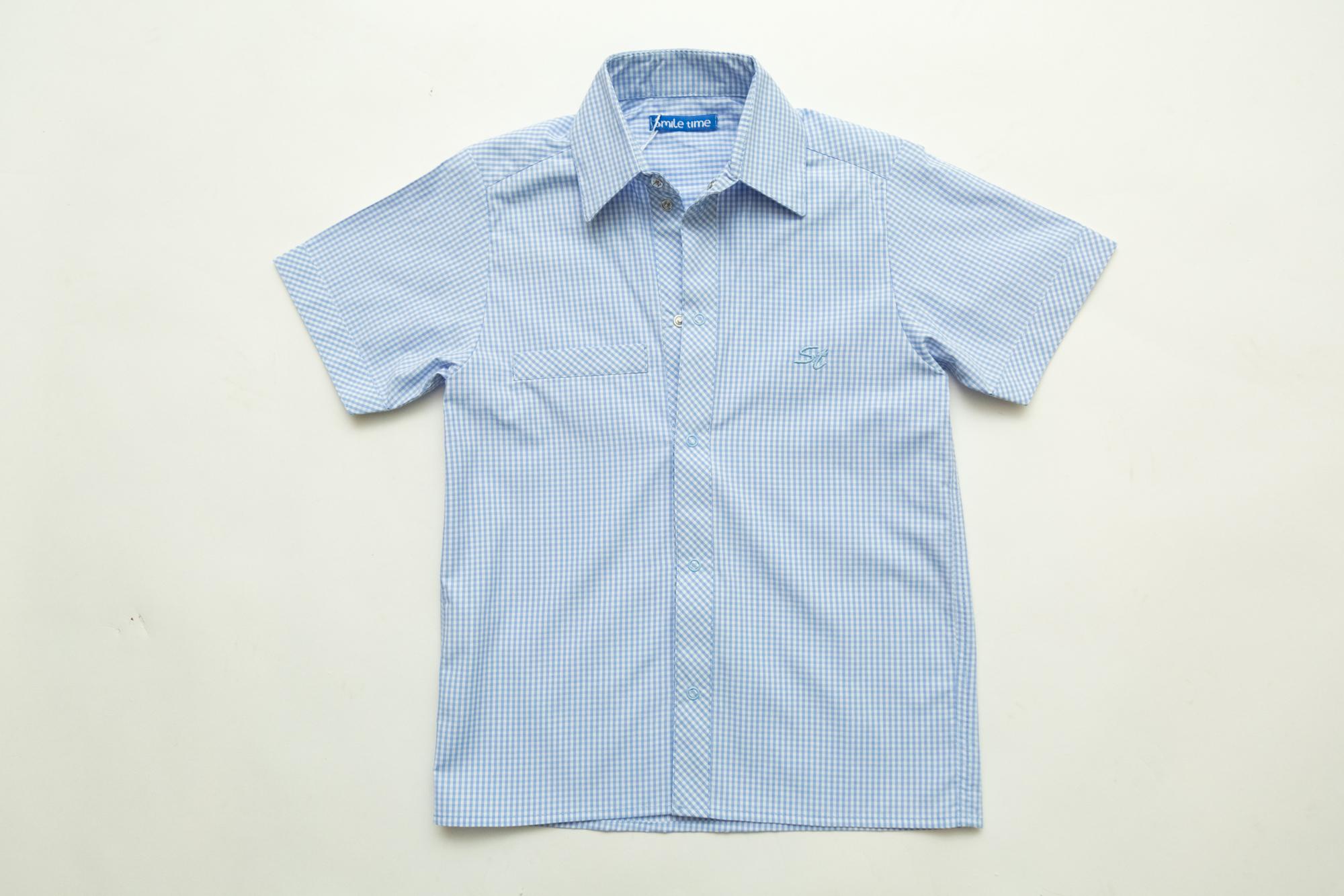 Рубашка для мальчика SmileTime с коротким рукавом на кнопках Клетка, голубая