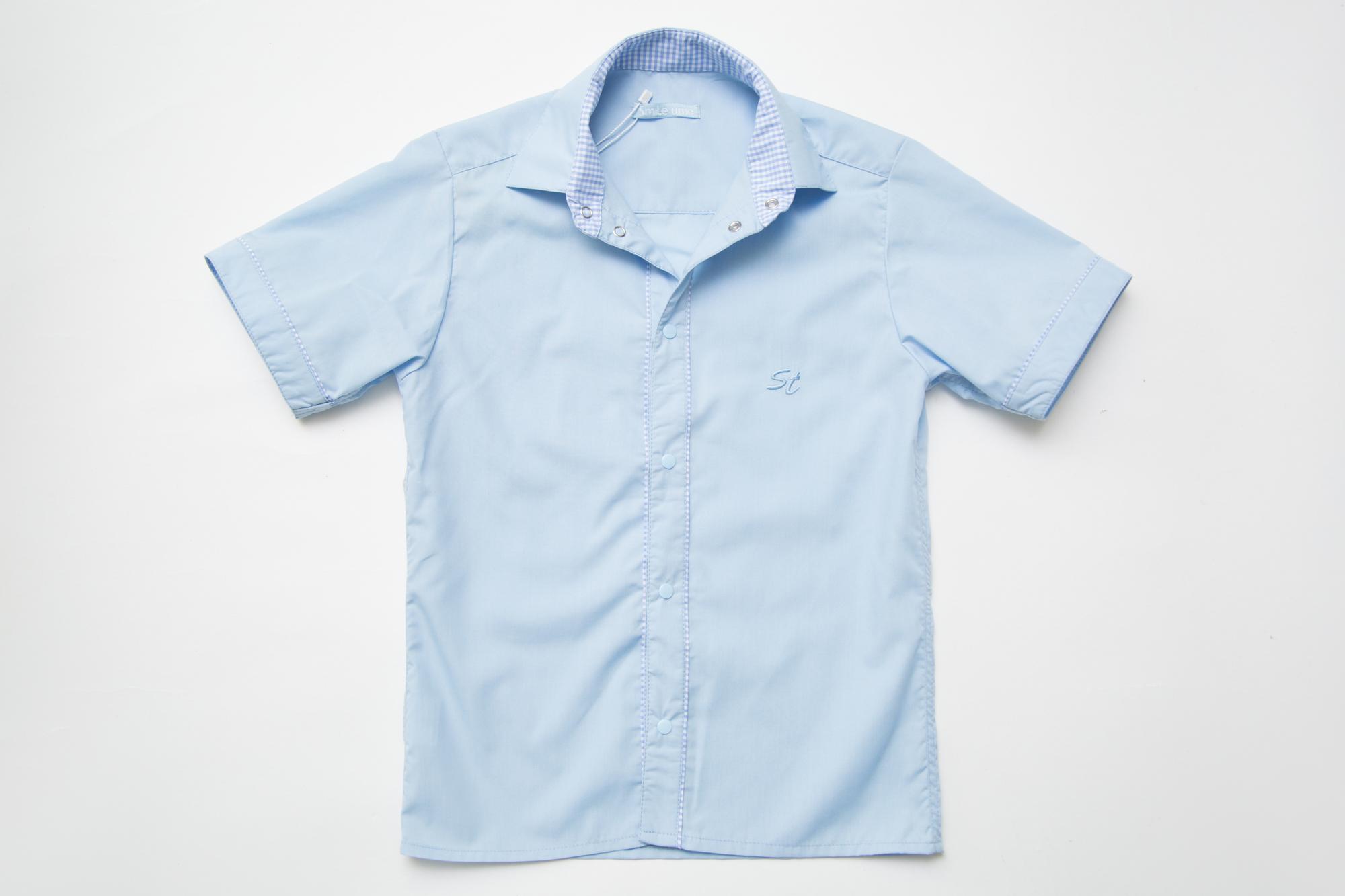 Рубашка SmileTime на кнопках с коротким рукавом Кант, голубая