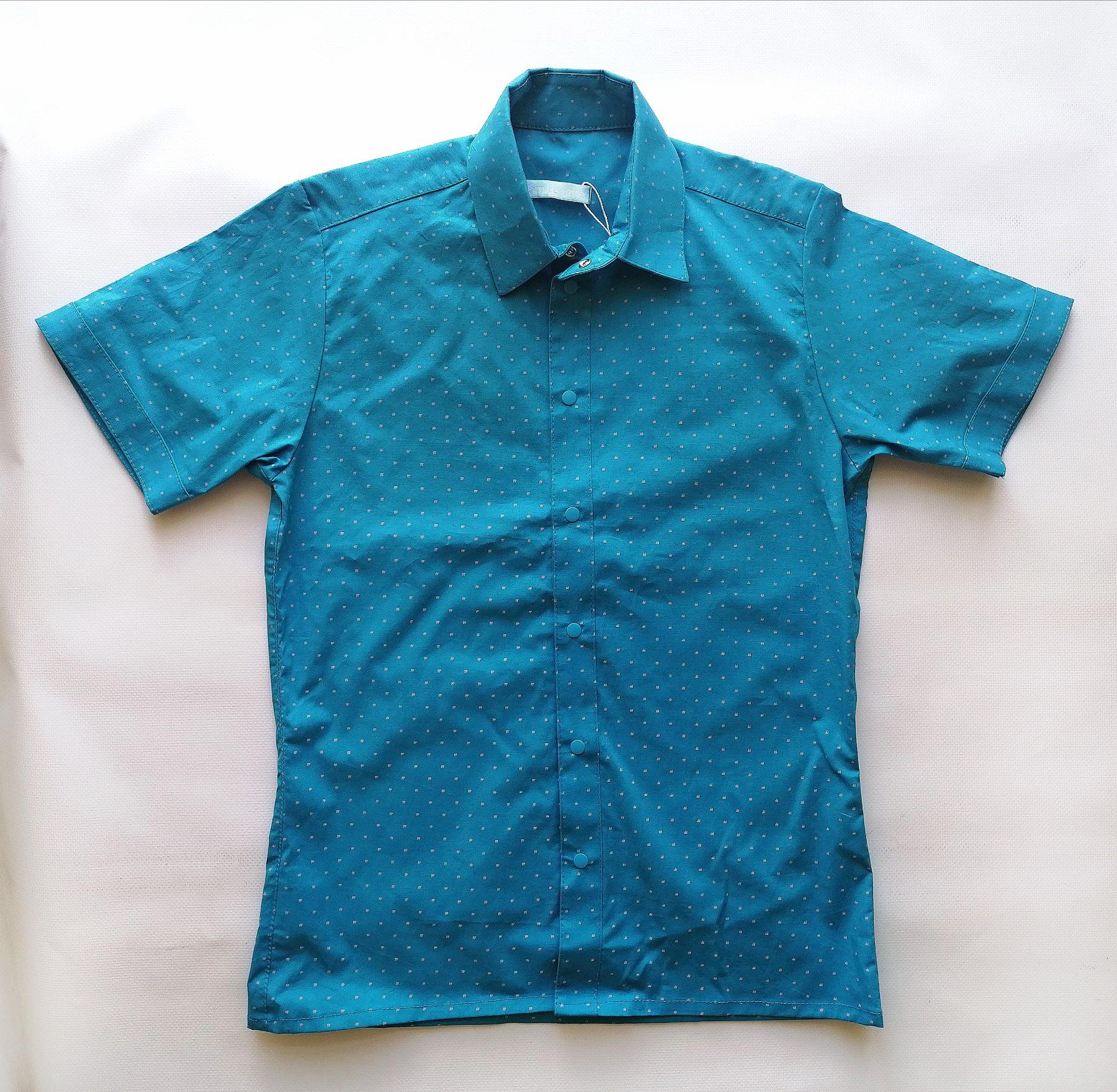Сорочка з коротким рукавом, для хлопчика, бірюзова SmileTime Touch