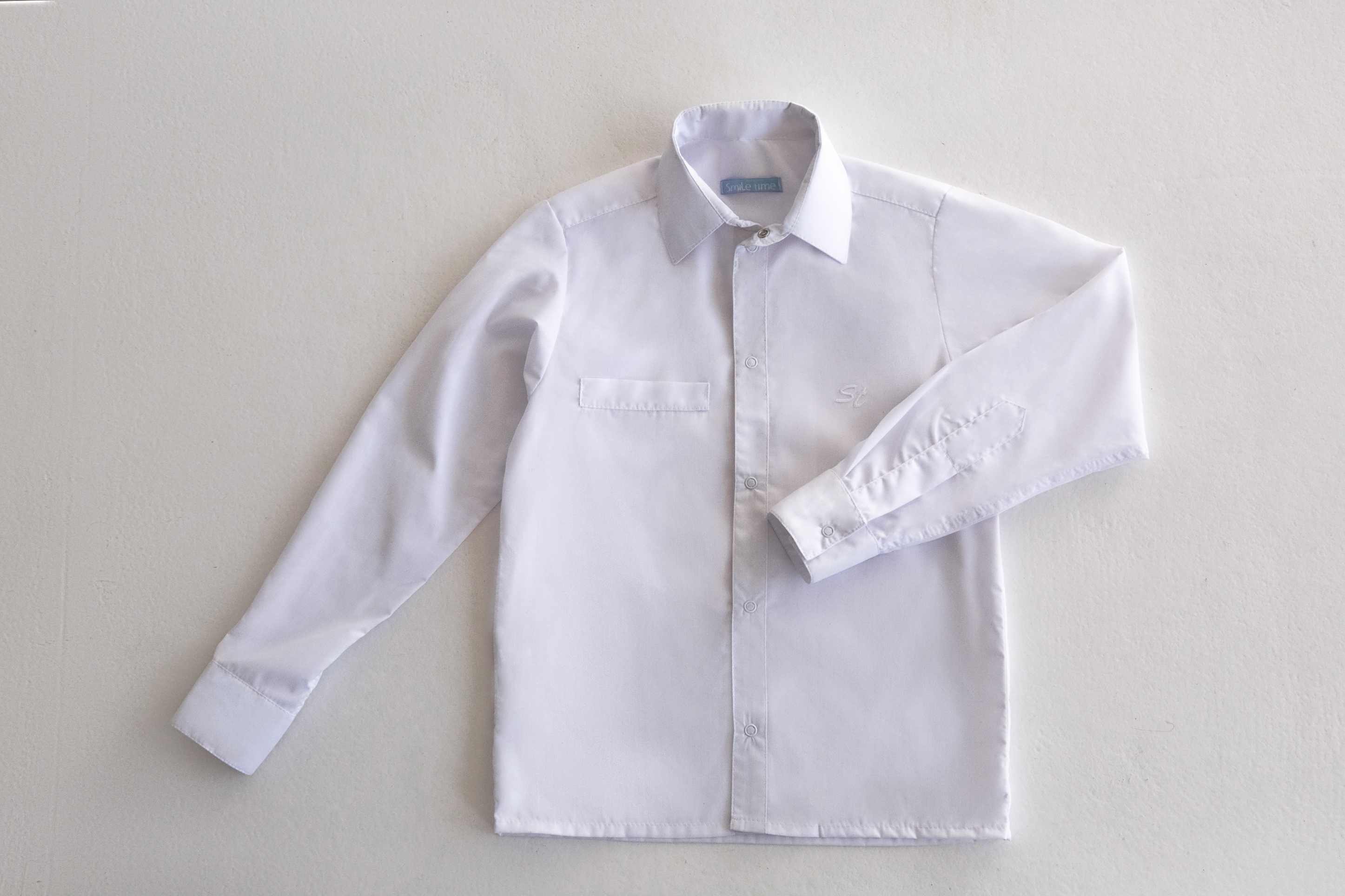 Рубашка SmileTime для мальчика с длинным рукавом на кнопках, белая