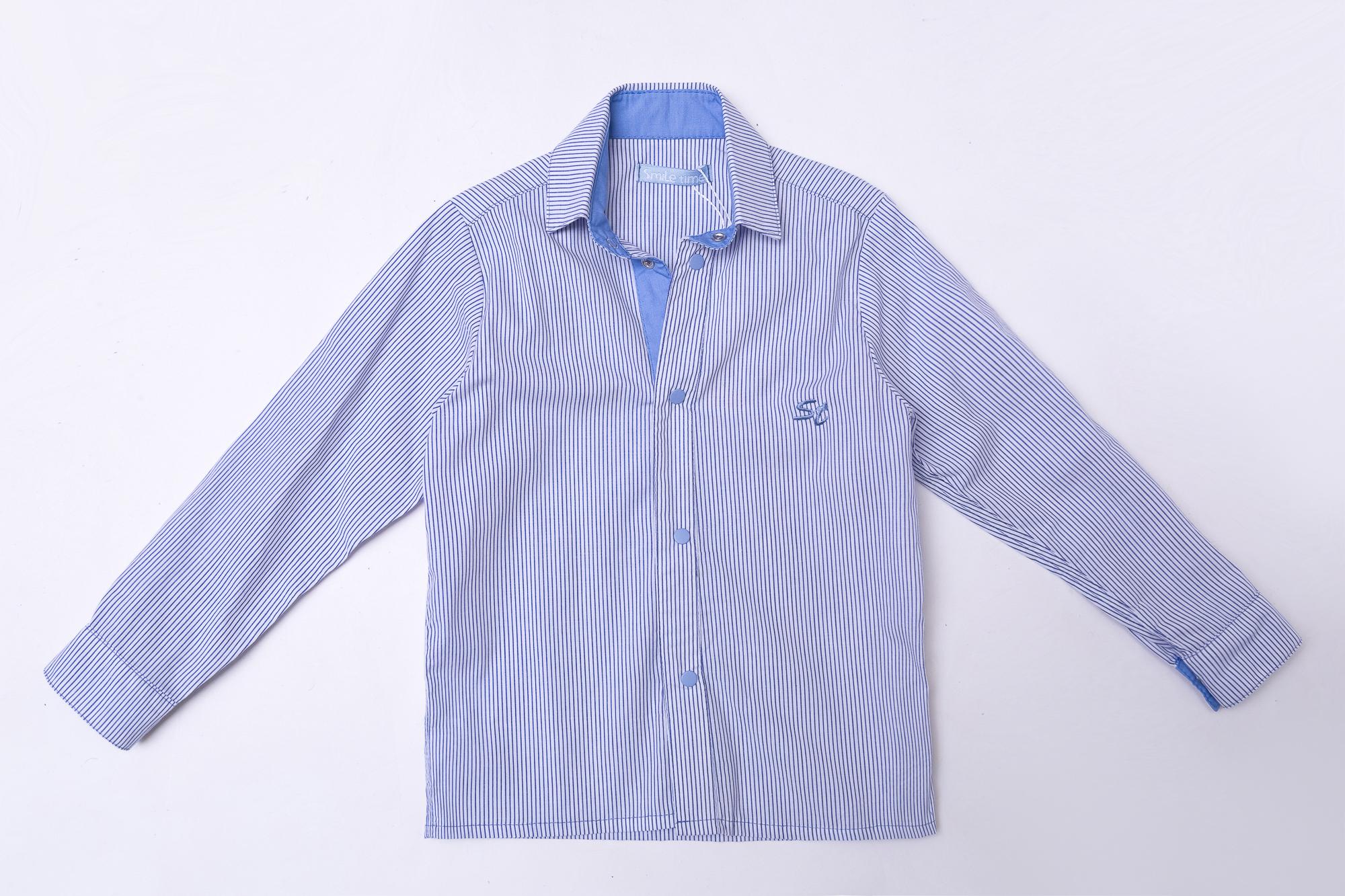Рубашка для мальчика SmileTime с длинным рукавом детская Strip, ингдиго
