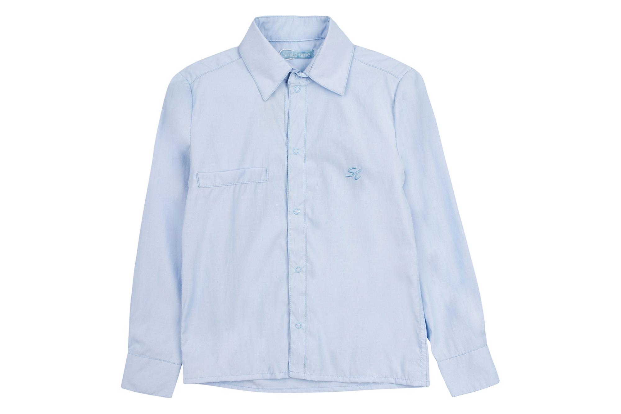 Рубашка SmileTime для мальчика с длинным рукавом на кнопках Полоса, синяя