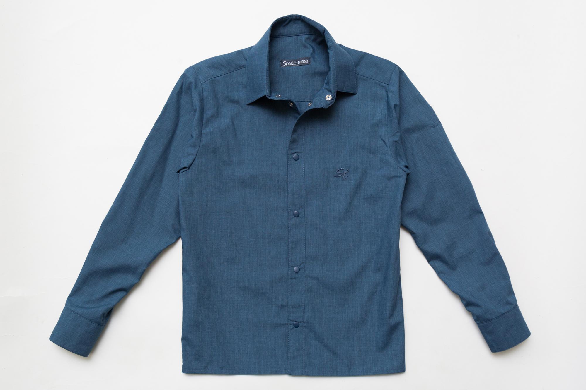 Рубашка SmileTime для мальчика с длинным рукавом детская на кнопках, джинс