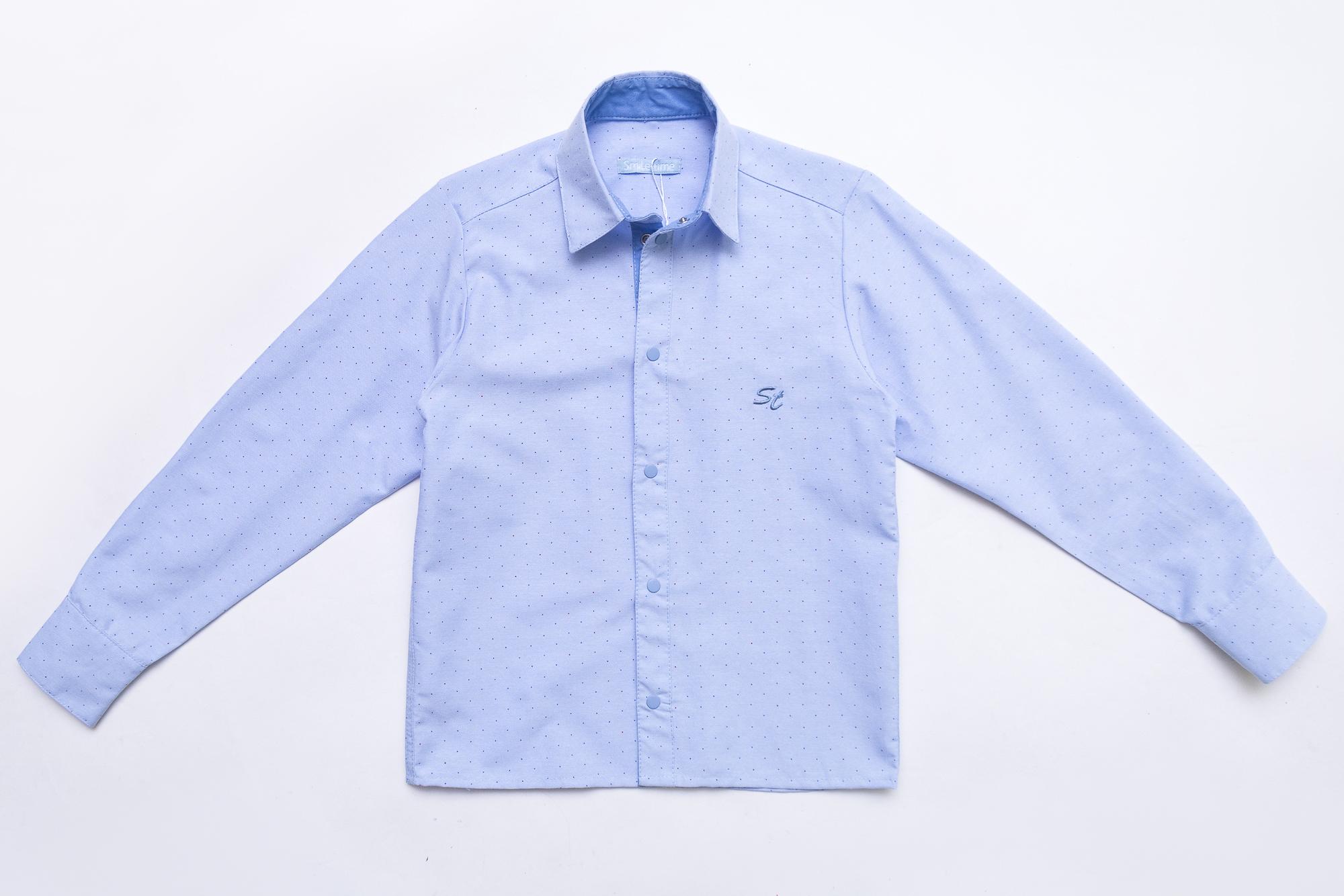 Рубашка SmileTime для мальчика с длинным рукавом детская на кнопках Points, голубая