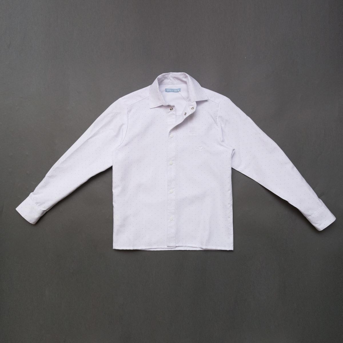 Рубашка SmileTime для мальчика с длинным рукавом на кнопках Points, белый