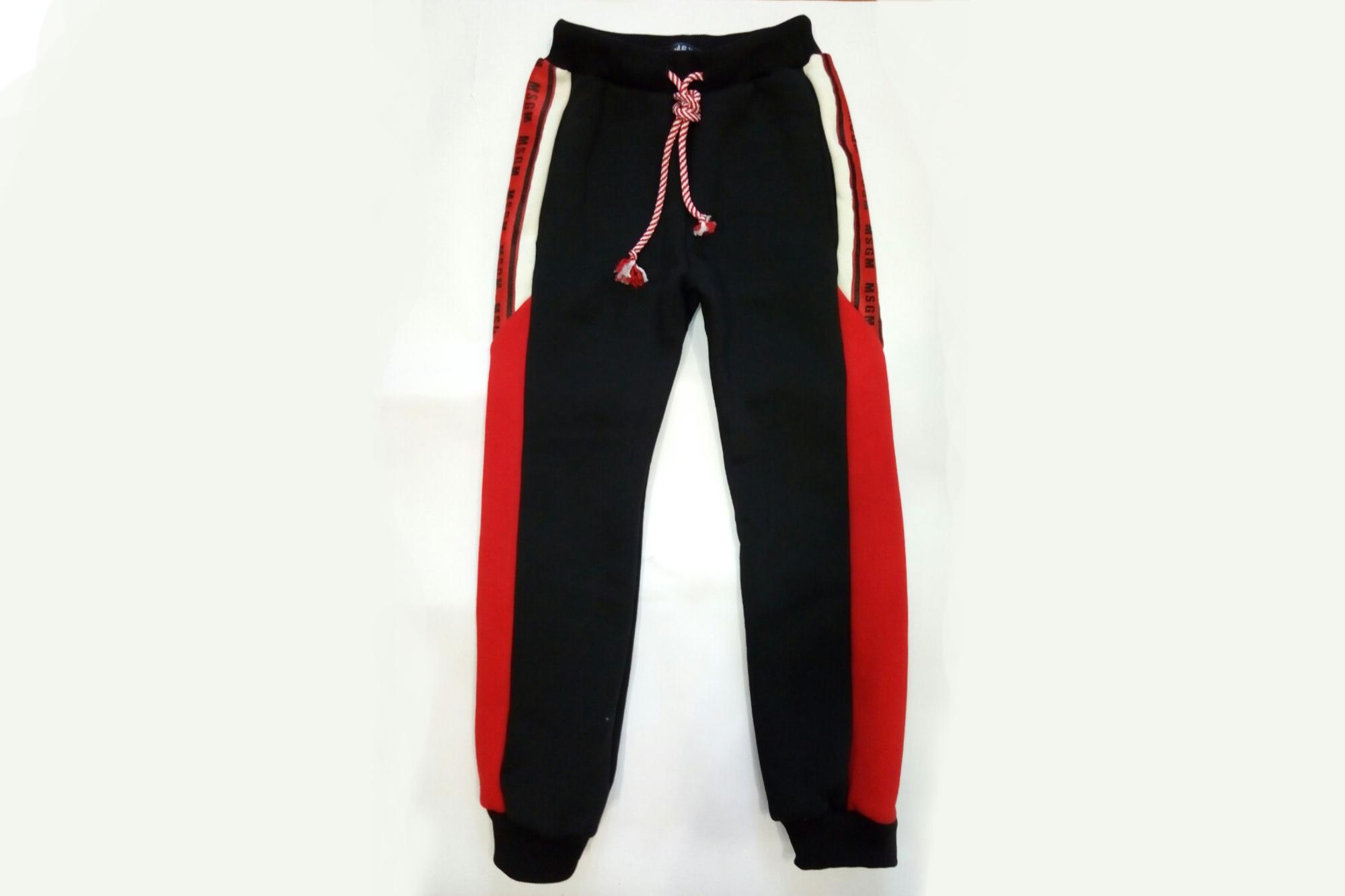 Штаны спортивные SmileTime для мальчика утепленные MSGM, черные с красным
